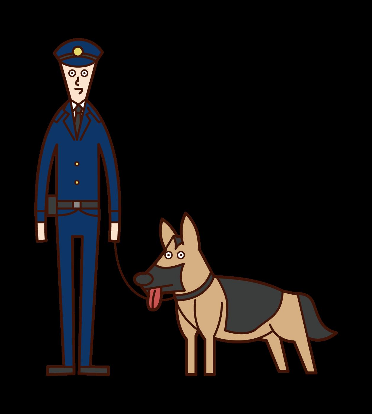 麻薬取締官と警察犬(男性)のイラスト