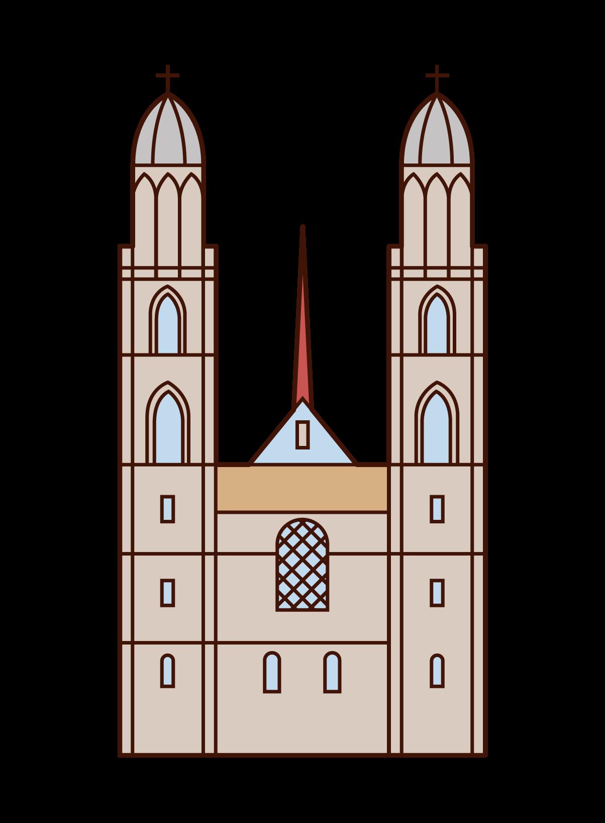 グロスミュンスター大聖堂のイラスト