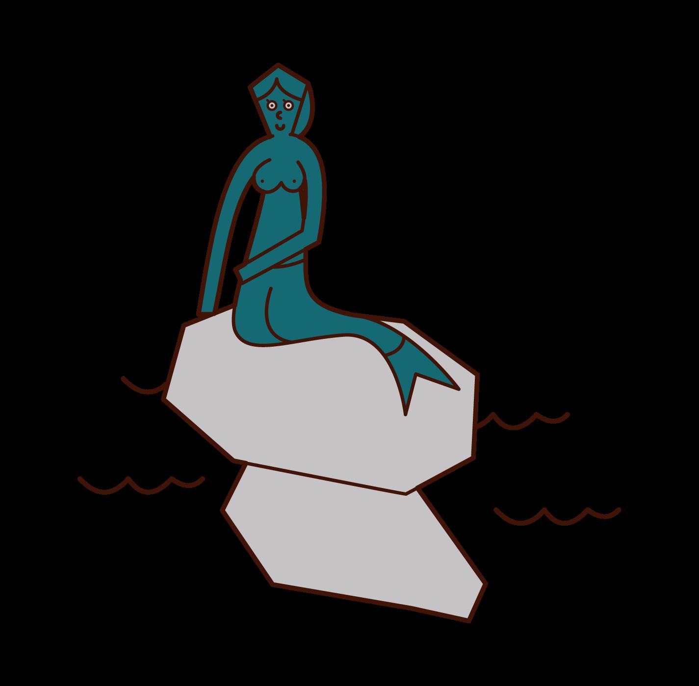 人魚姫の像のイラスト