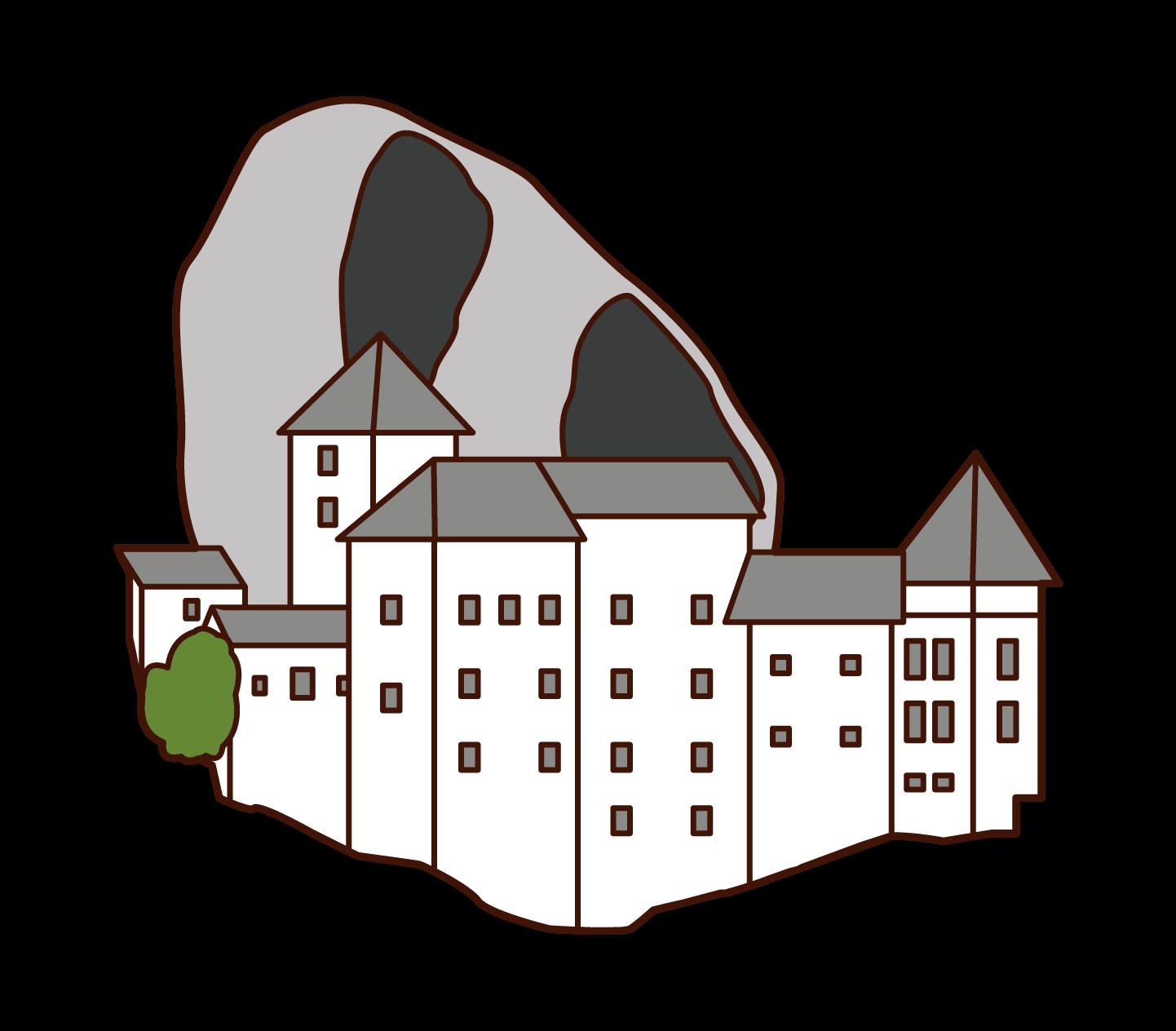 プレッドヤマ城のイラスト