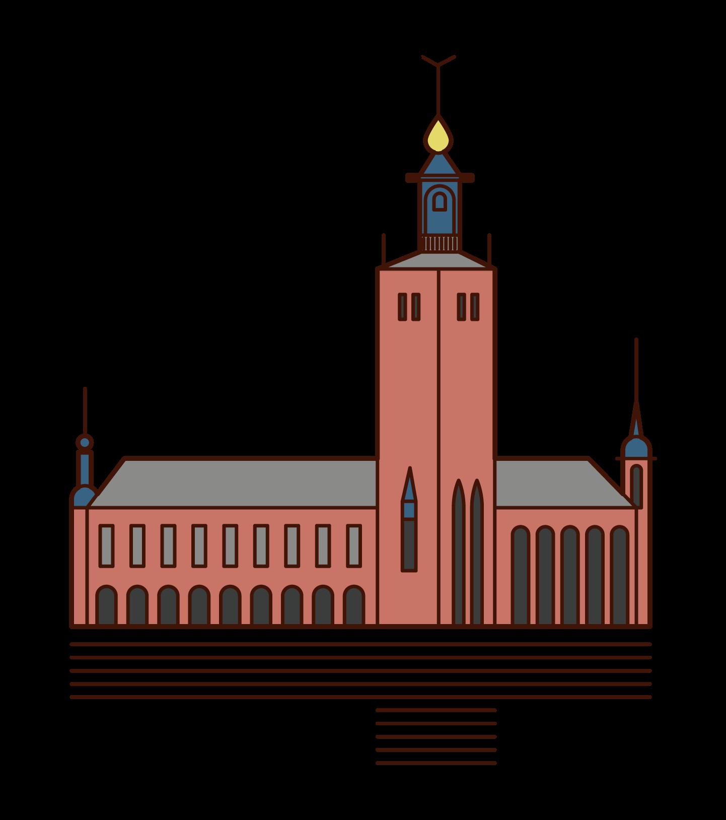 ストックホルム市庁舎のイラスト