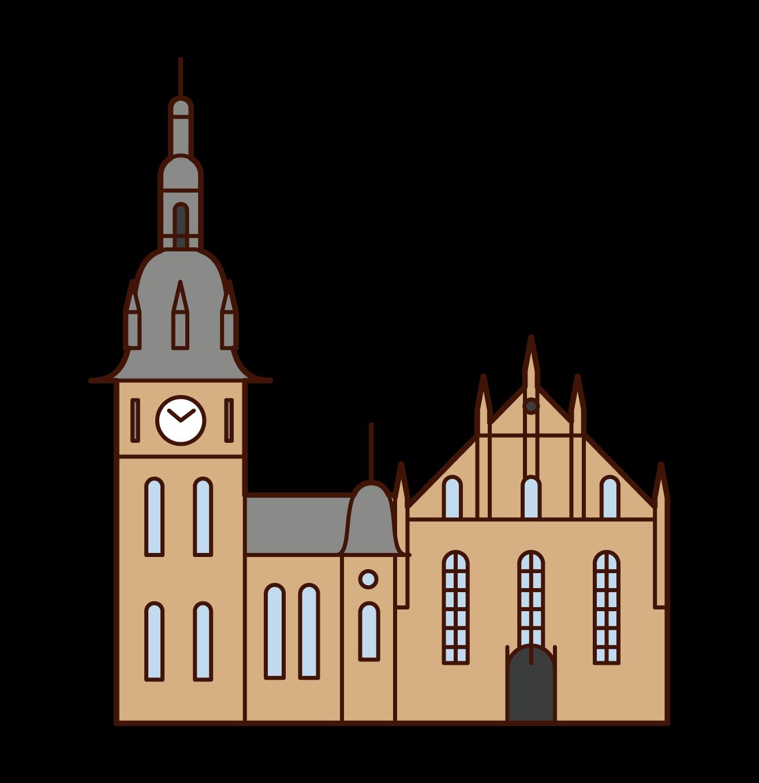 オスロ大聖堂のイラスト
