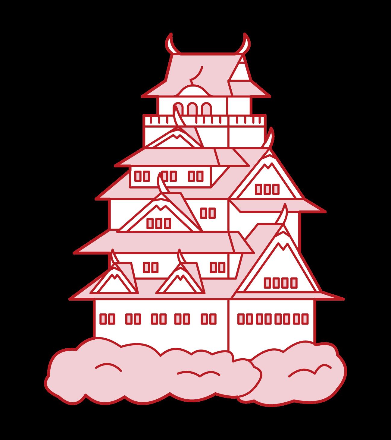 오사카성의 일러스트
