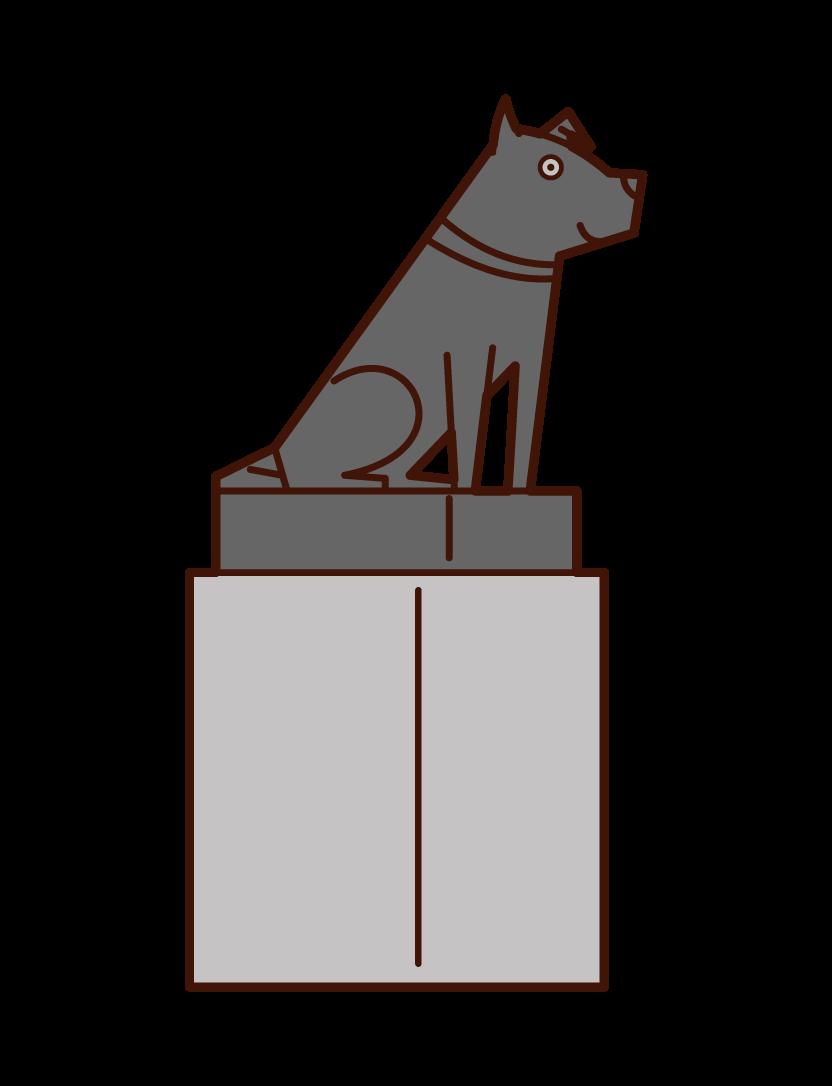 Illustration of Hachiko, a loyal dog in Shibuya