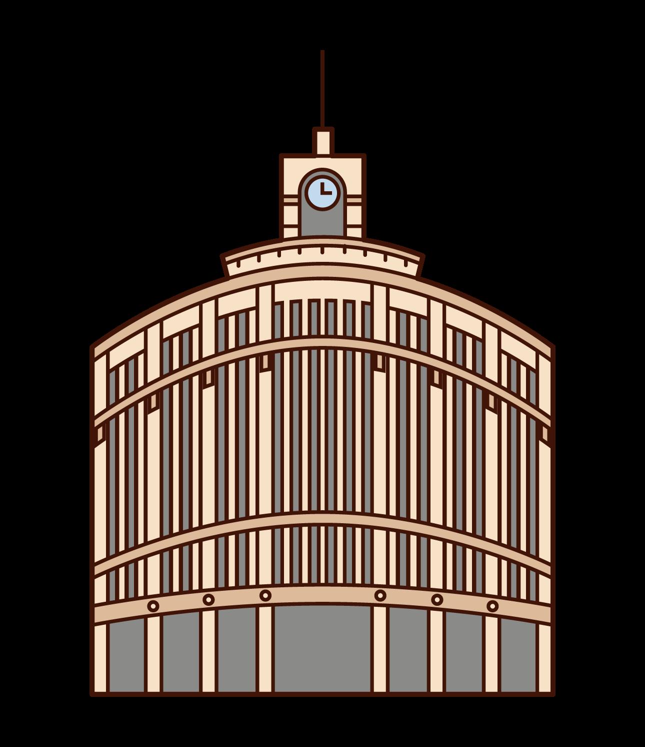 銀座の時計台のイラスト