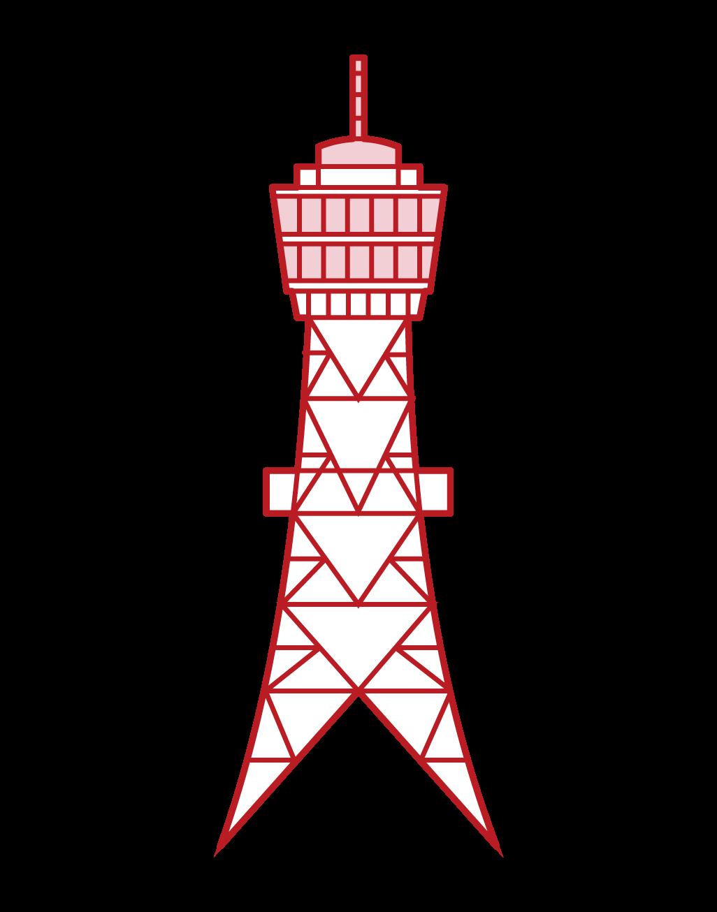 博多ポートタワーのイラスト