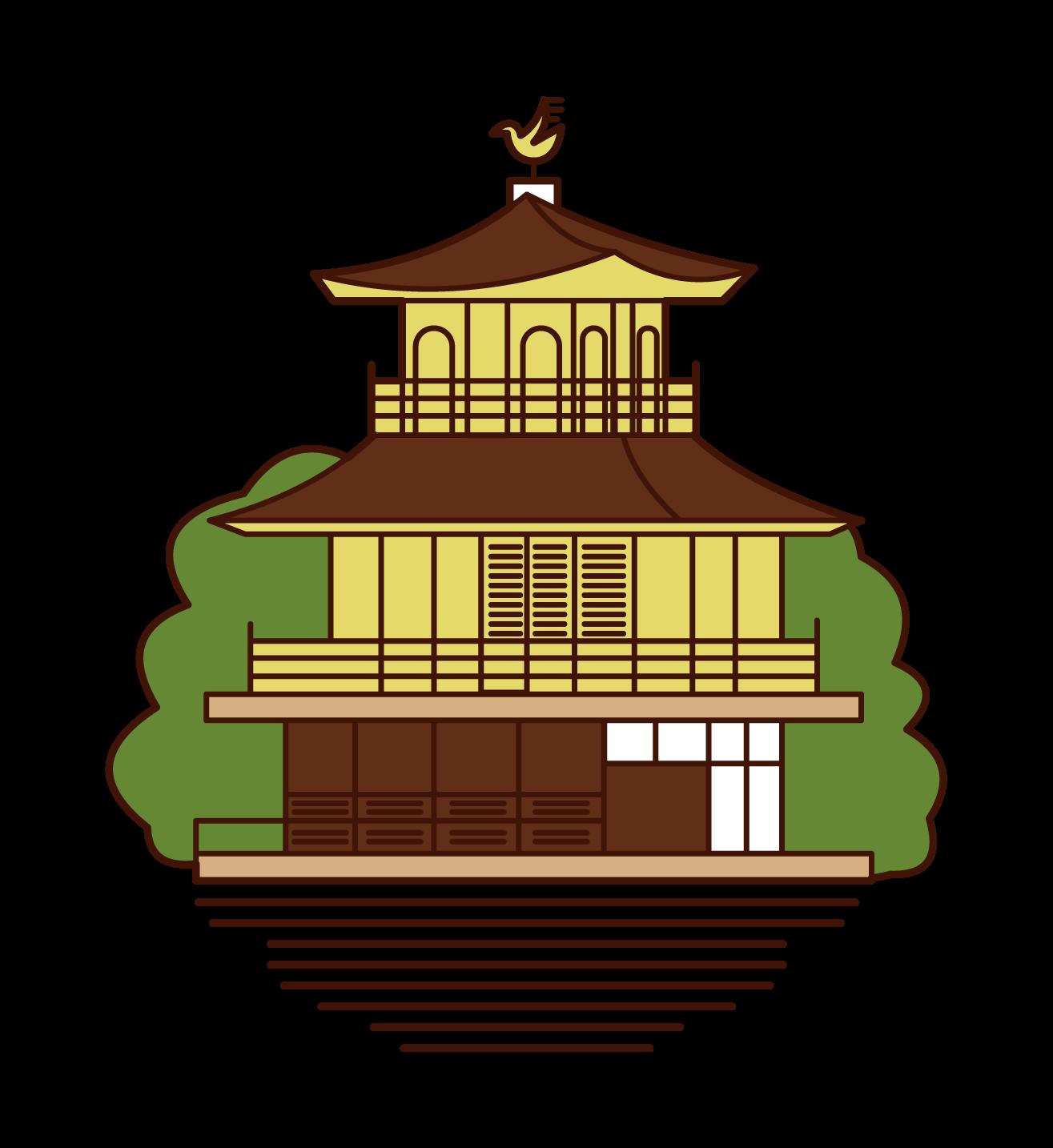긴카쿠지 절의 일러스트