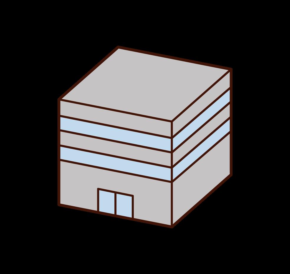 低層ビルのイラスト