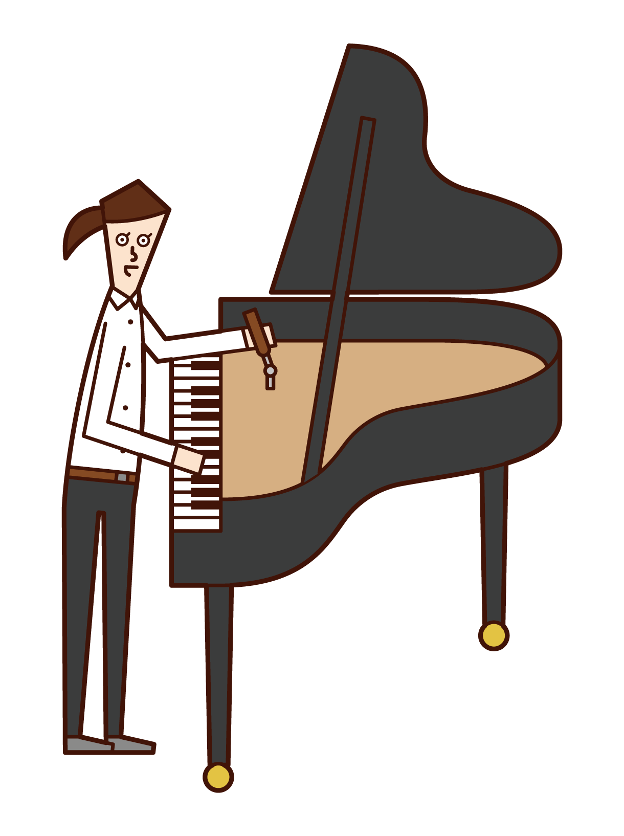 ピアノ調律師(女性)のイラスト