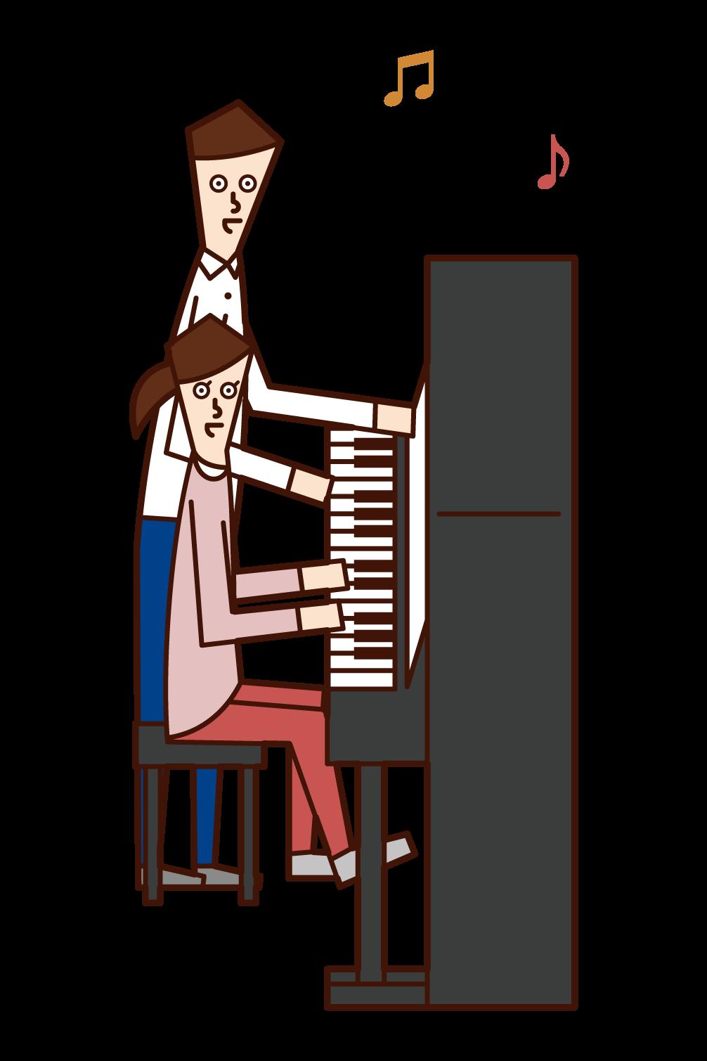 피아노 강사의 일러스트(남성)