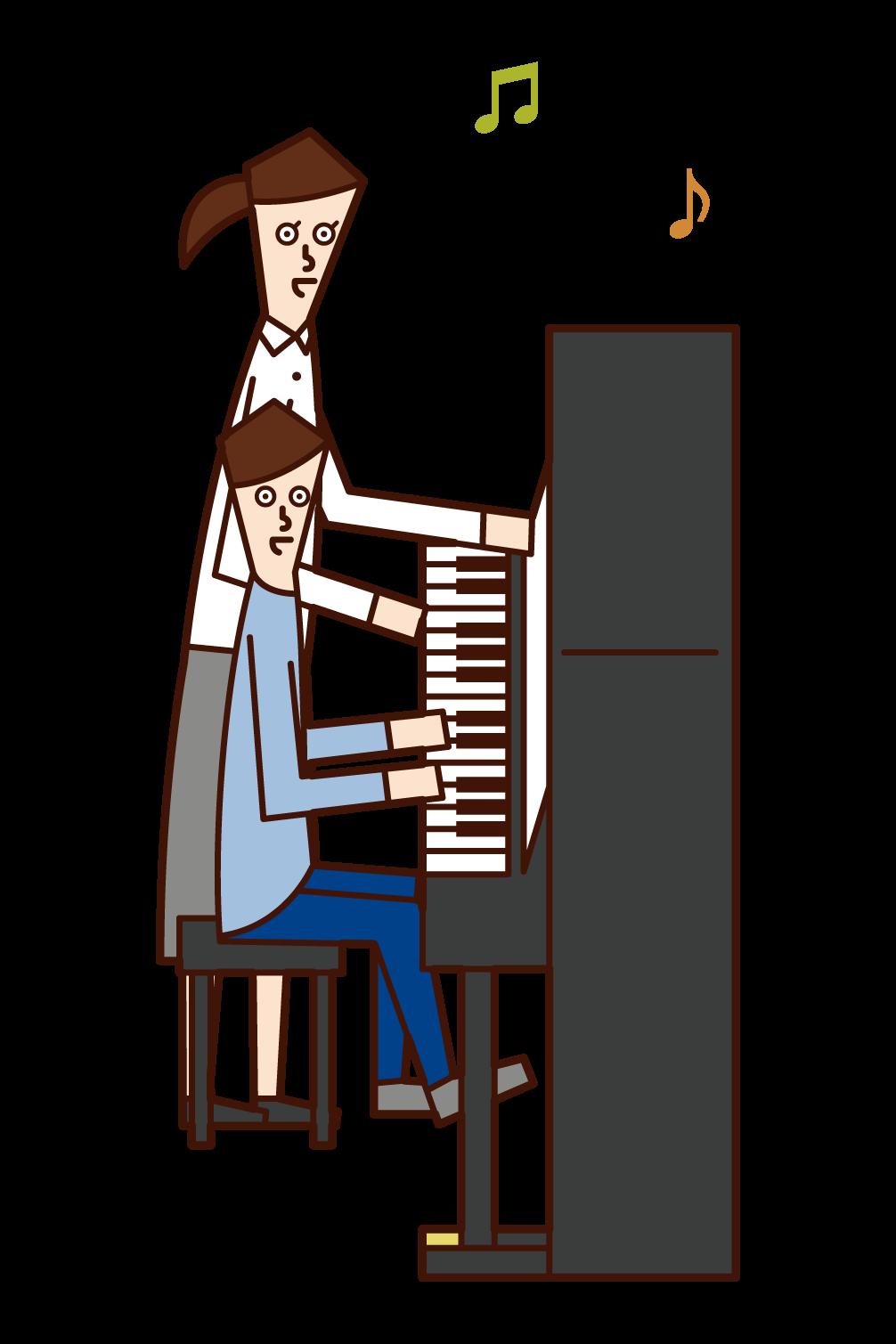 피아노 강사의 일러스트(여성)