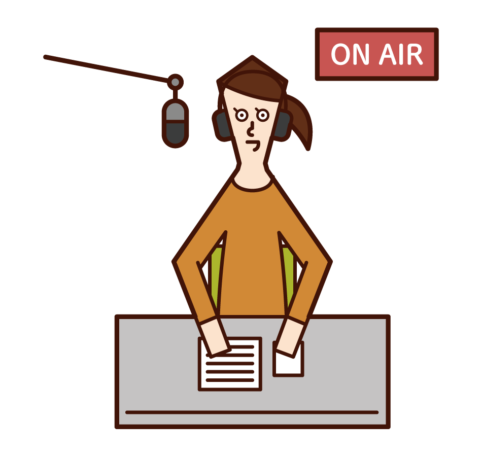 Illustration of radio personality (female)