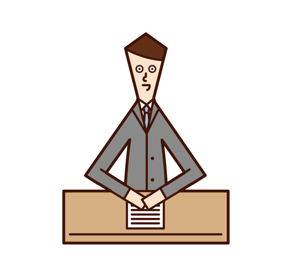 Illustration of a newscaster (man)