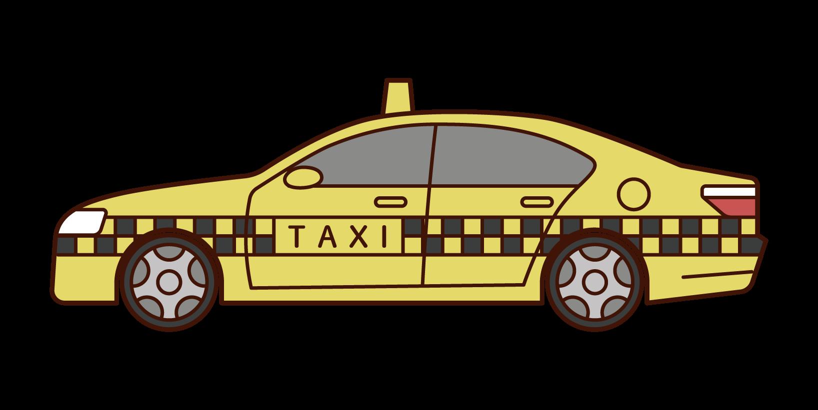 横から見たタクシーのイラスト