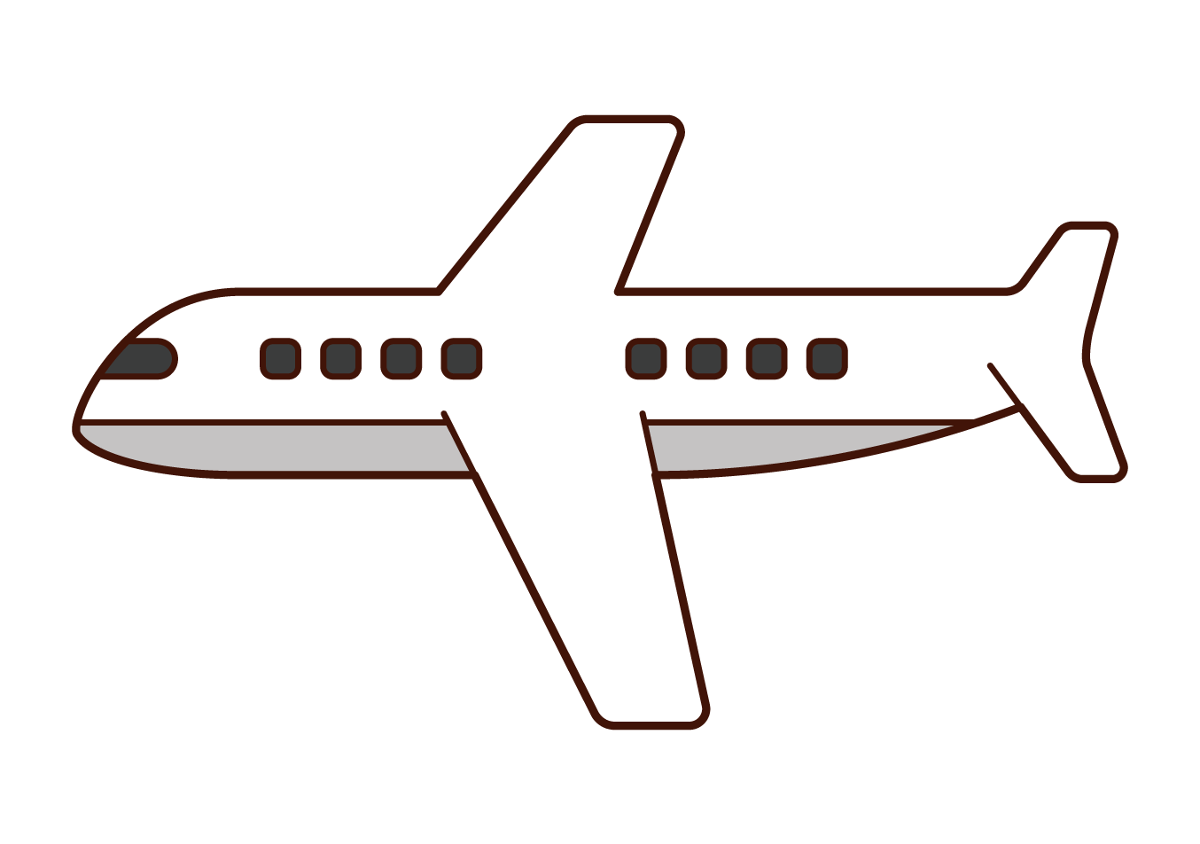 Illustration of an airplane seen from the side