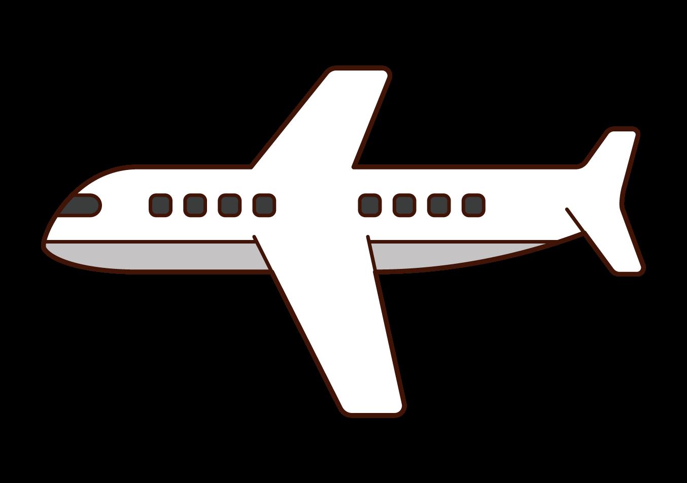 横から見た飛行機のイラスト