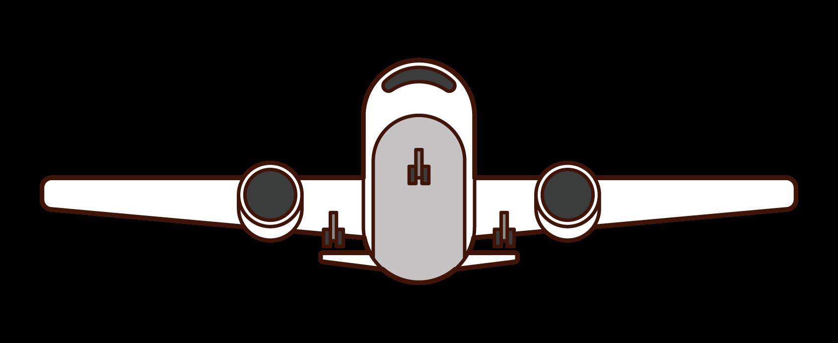 正面から見た飛行機のイラスト