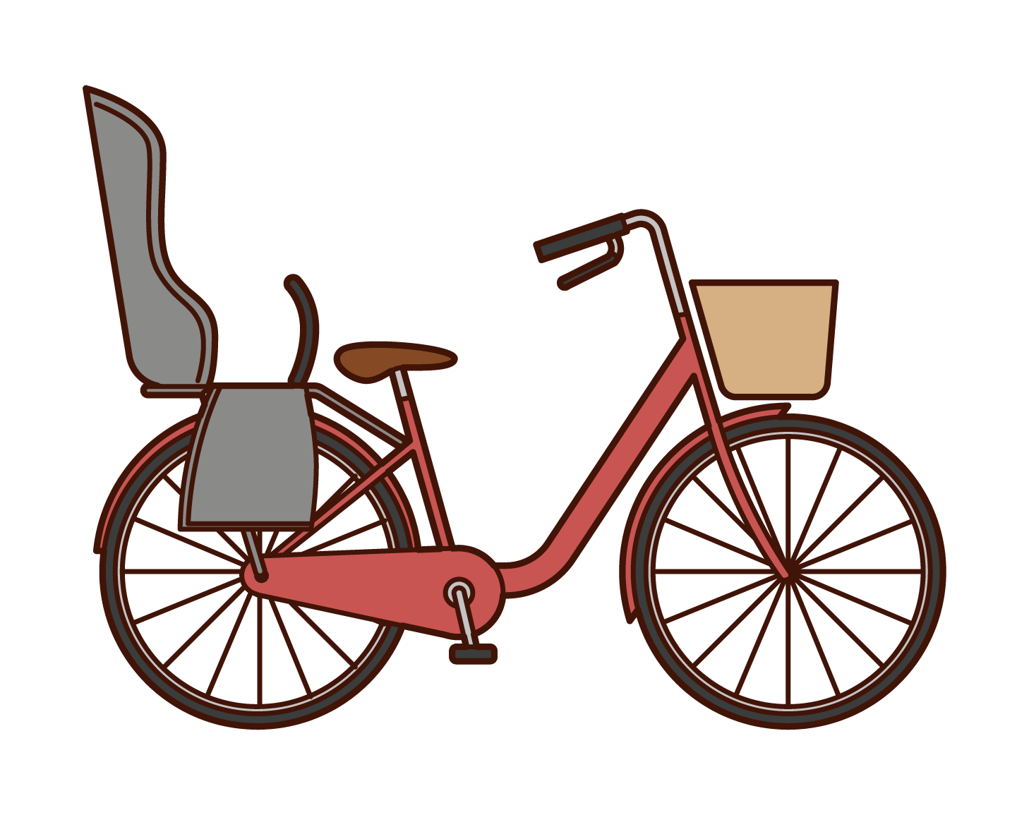 Illustration of a bicycle with a child seat