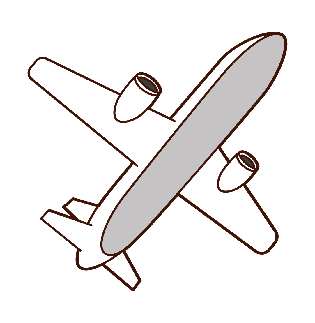 Illustration of the airplane looked up from the bottom
