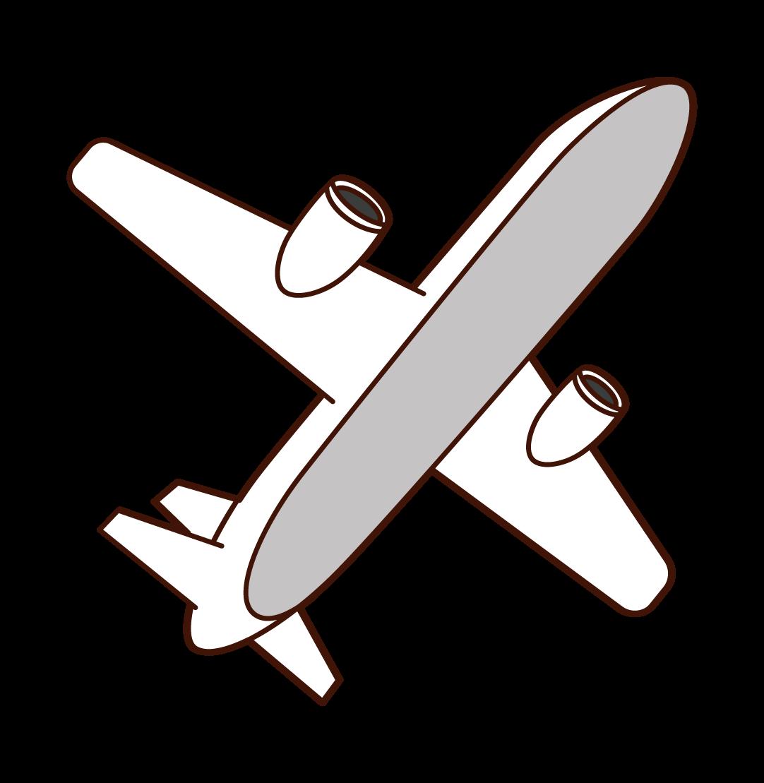 下から見上げた飛行機のイラスト
