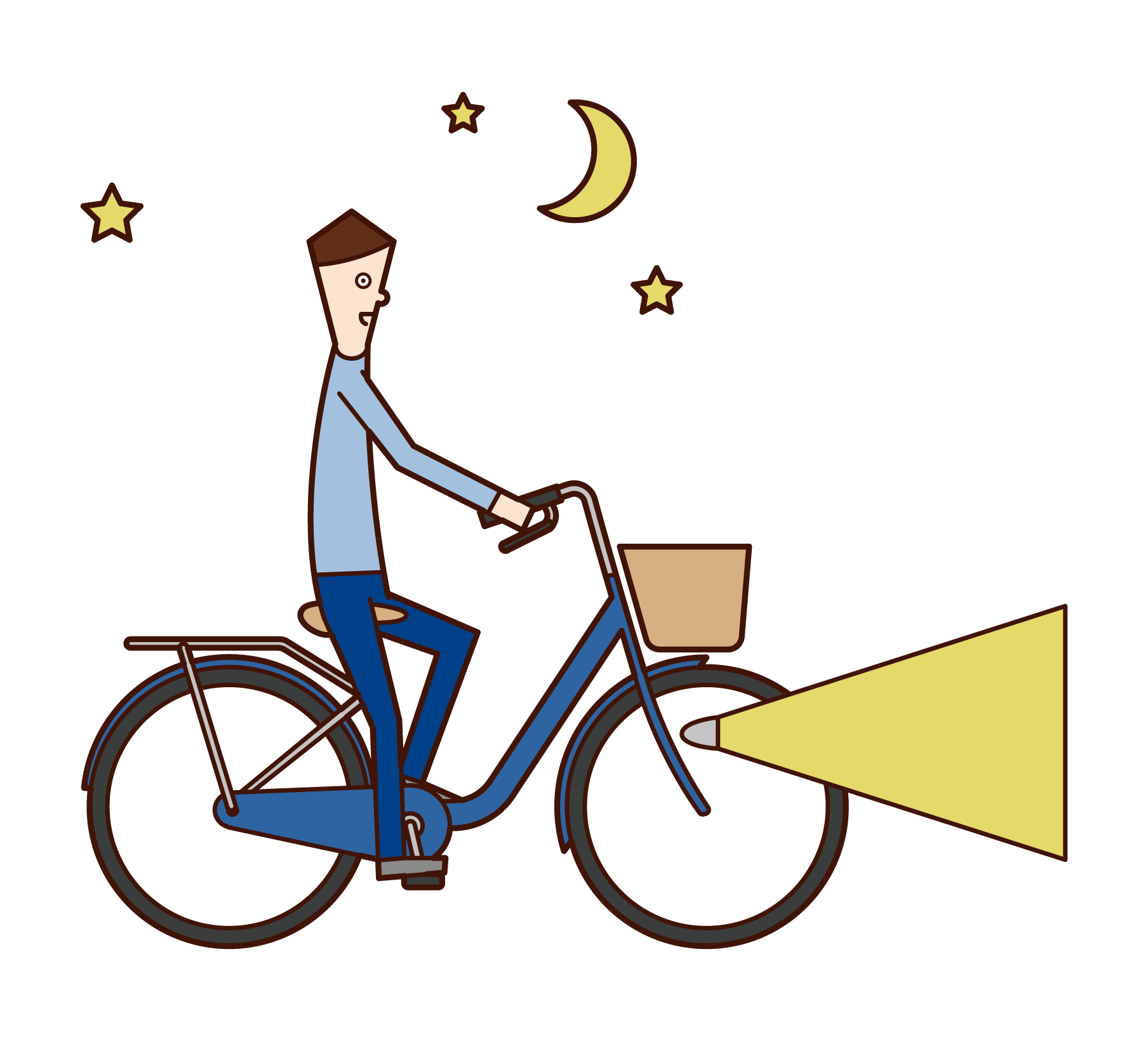 Illustration of a man riding a bicycle with a light on it