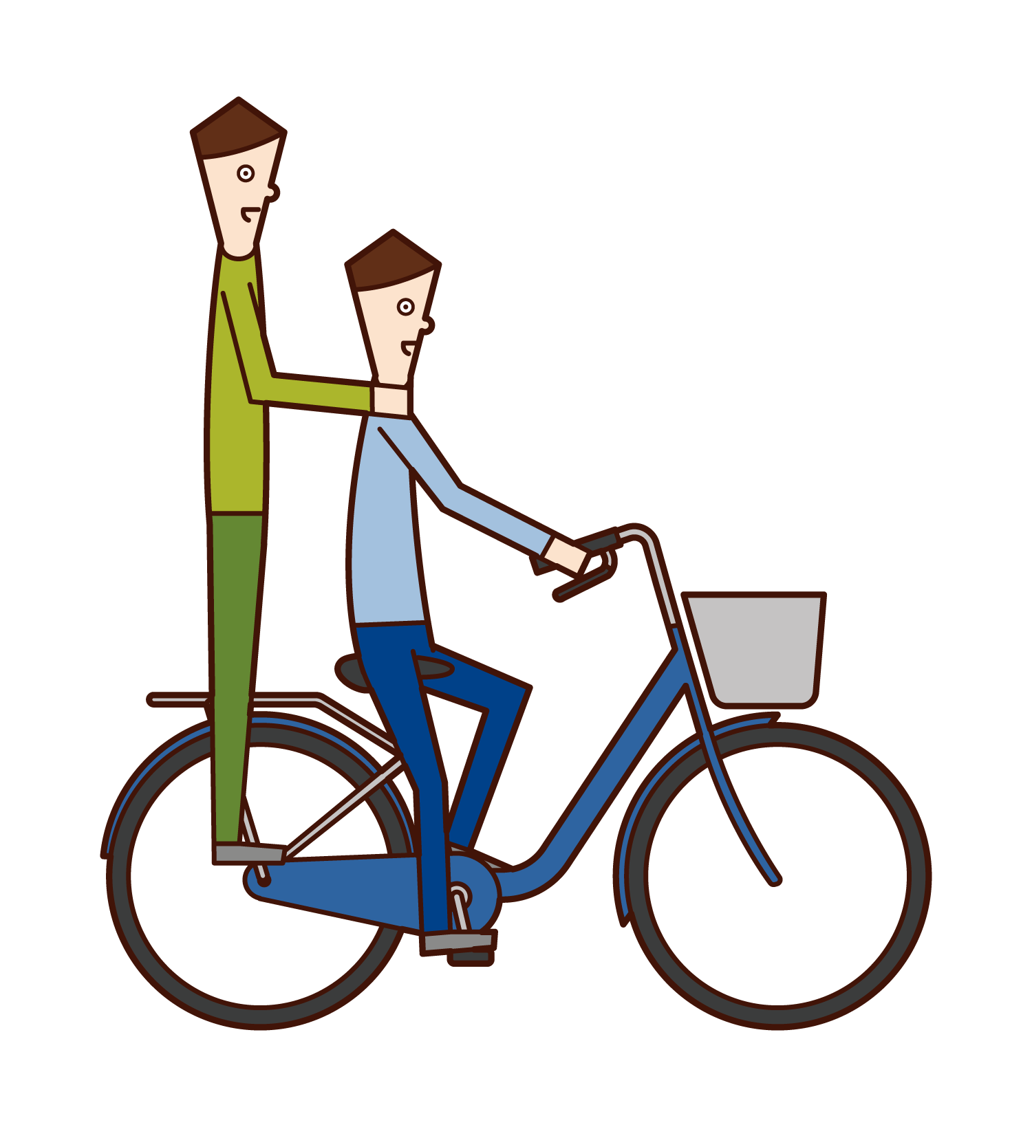 Illustration of a man riding a two-seater on a bicycle