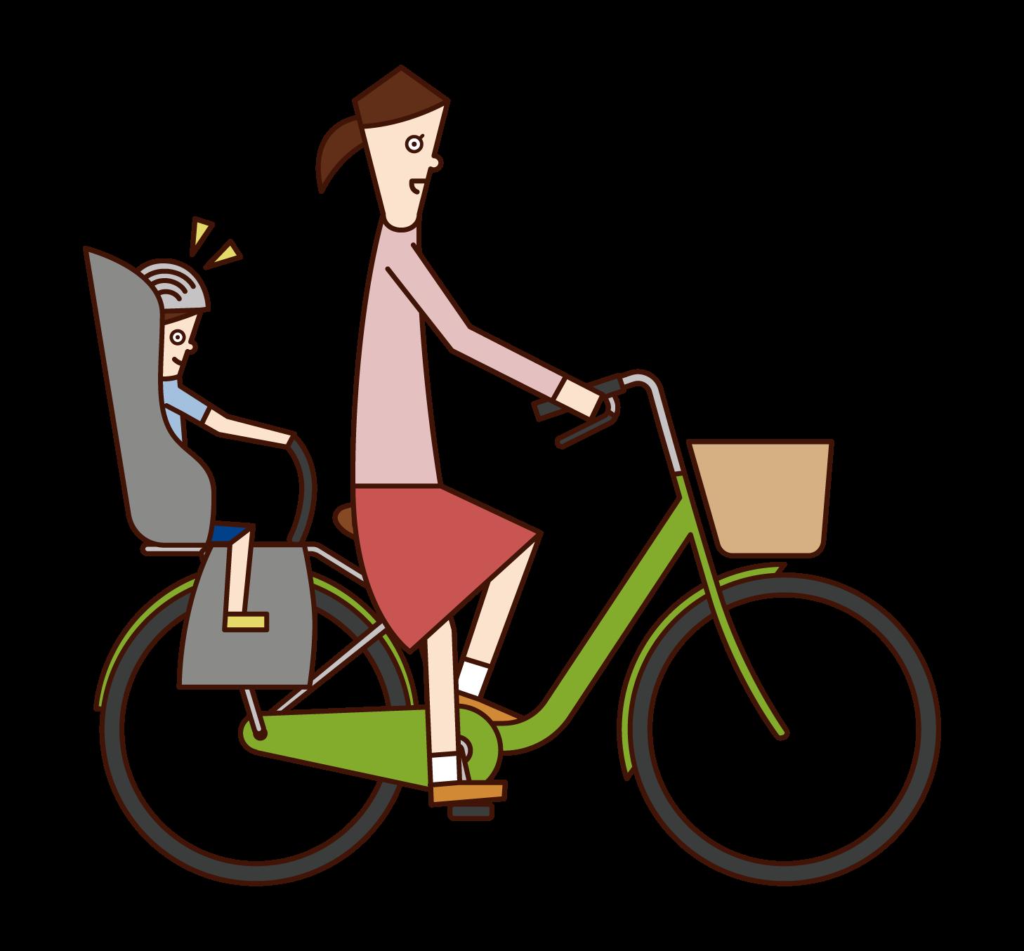 아이 시트에 아이와 함께 자전거를 타는 여성의 그림
