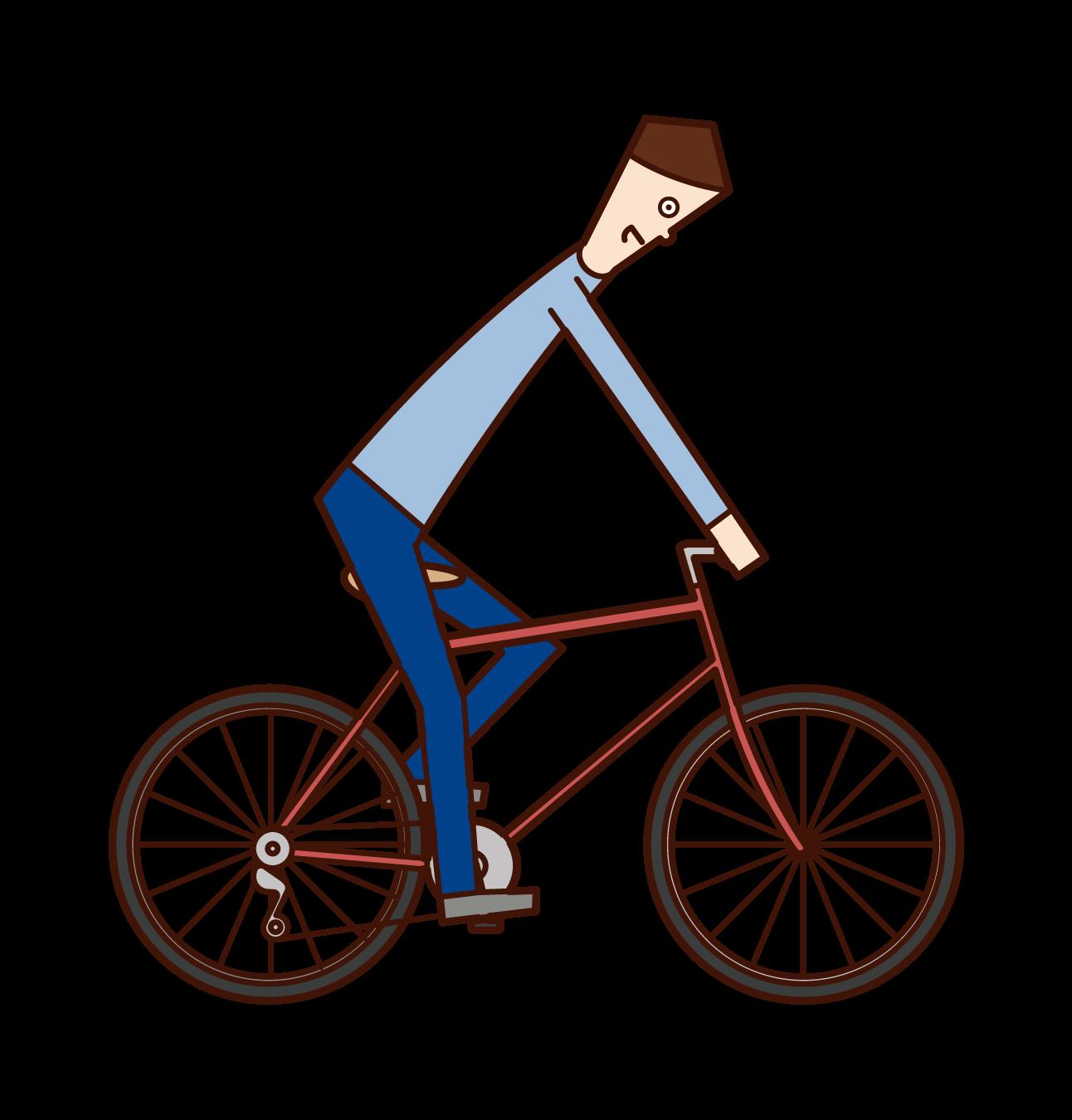 横から見た自転車乗り(男性)のイラスト