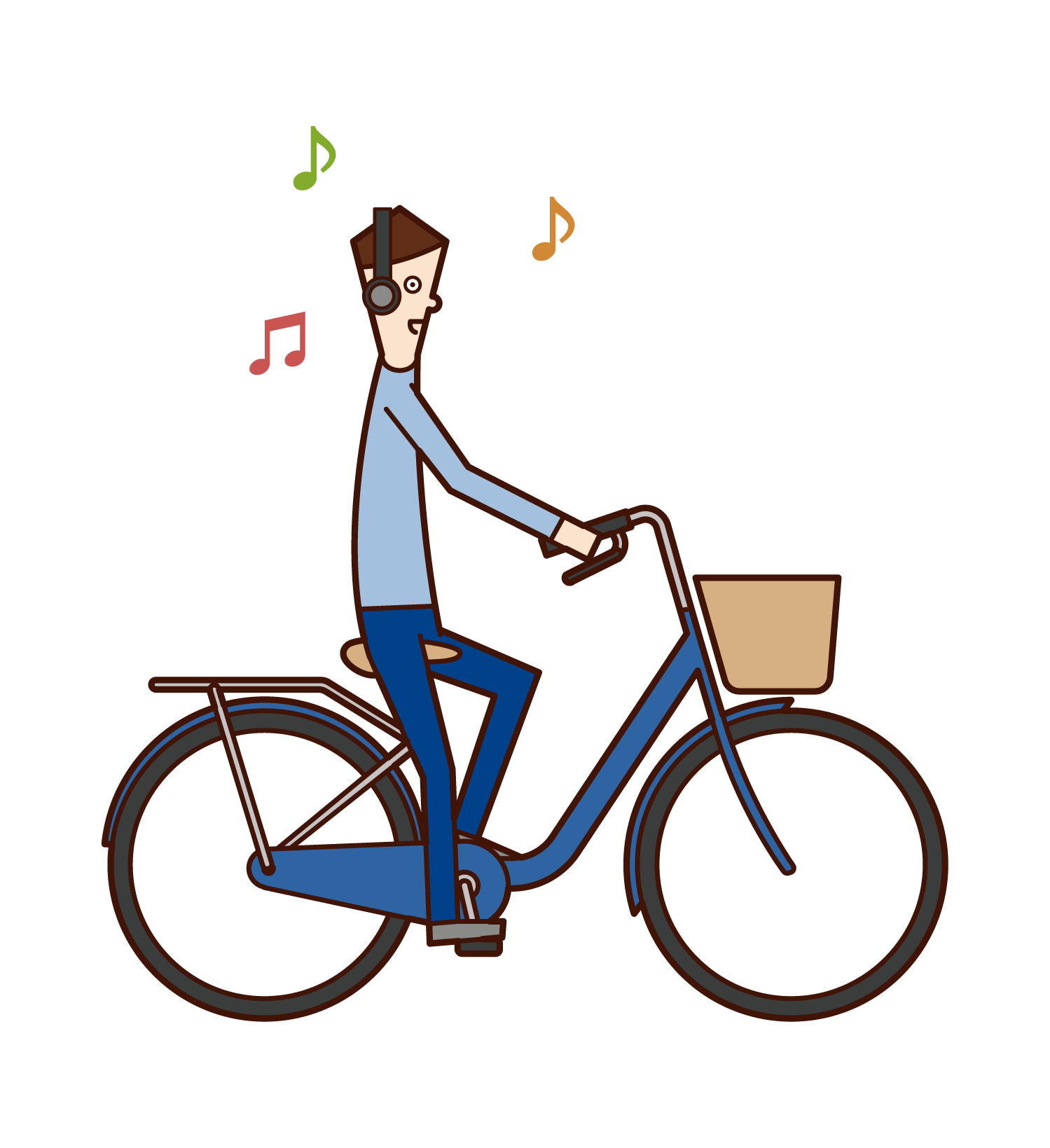 Illustration of a man who listens to music but rides a bicycle