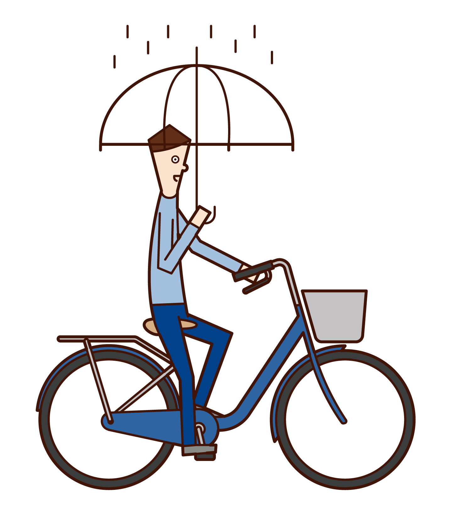Illustration of a man riding a bicycle with an umbrella