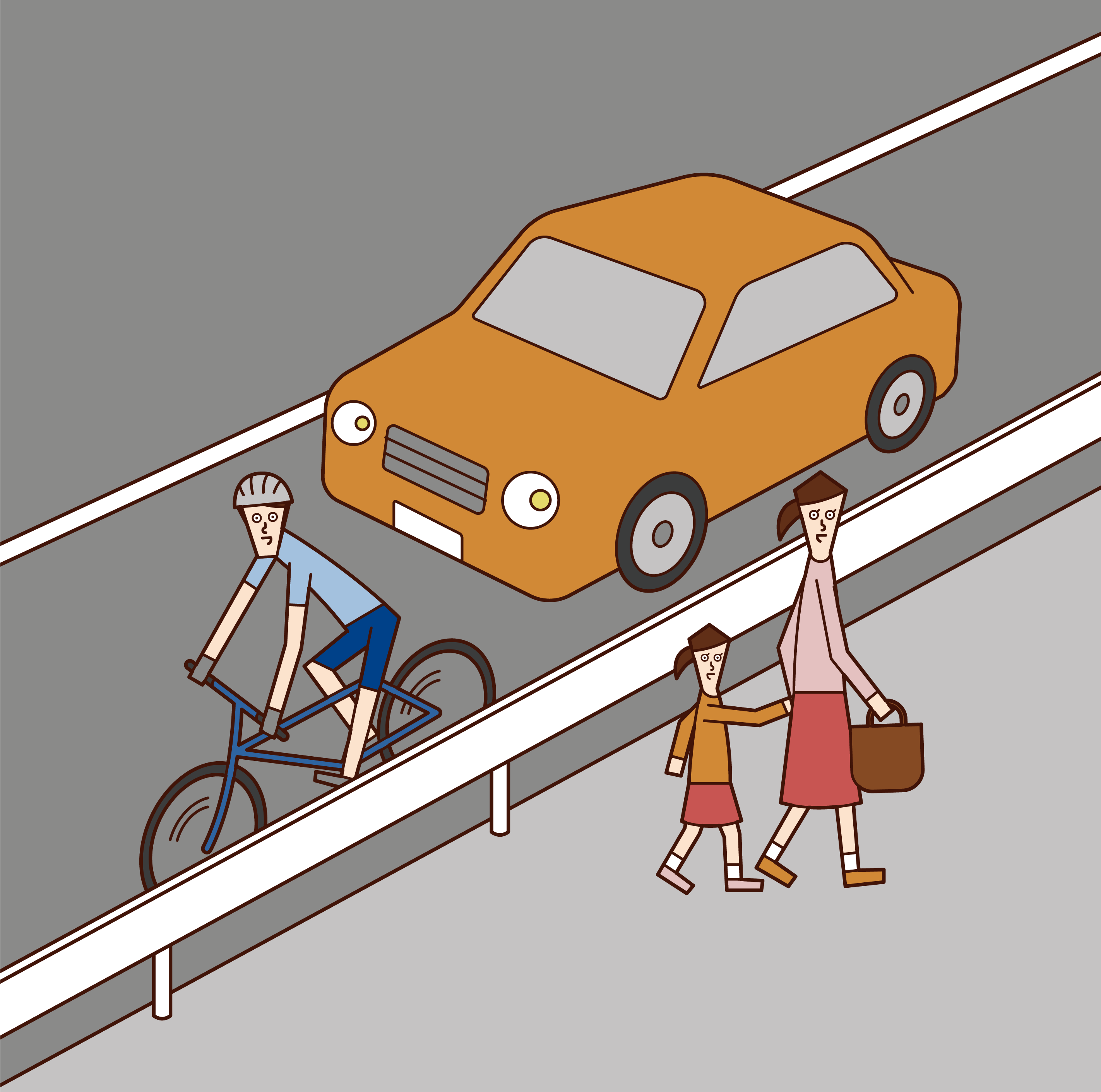 Illustration of a cyclist (man) driving on a driveway