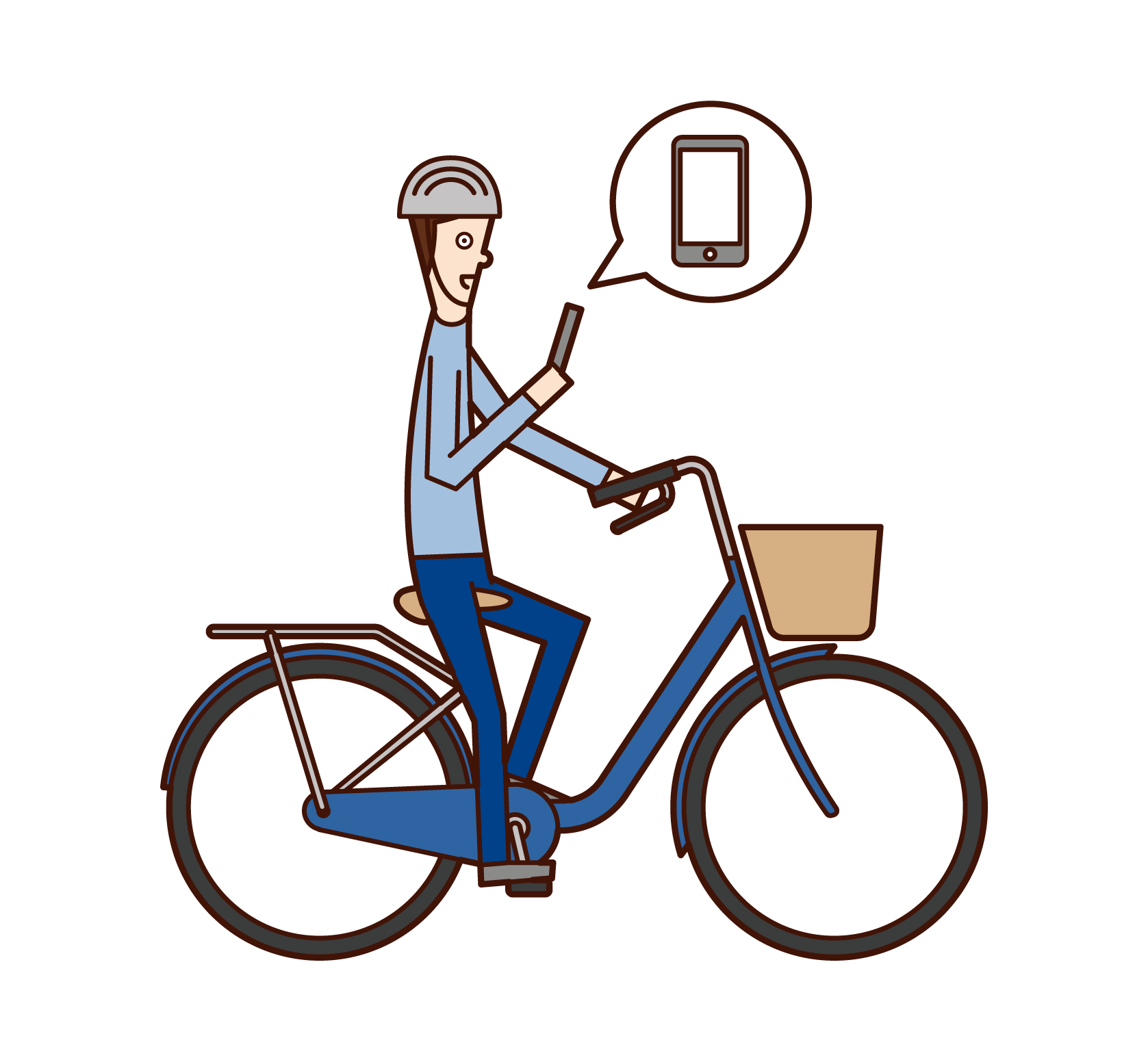 Illustration of a man riding a bicycle while operating a smartphone