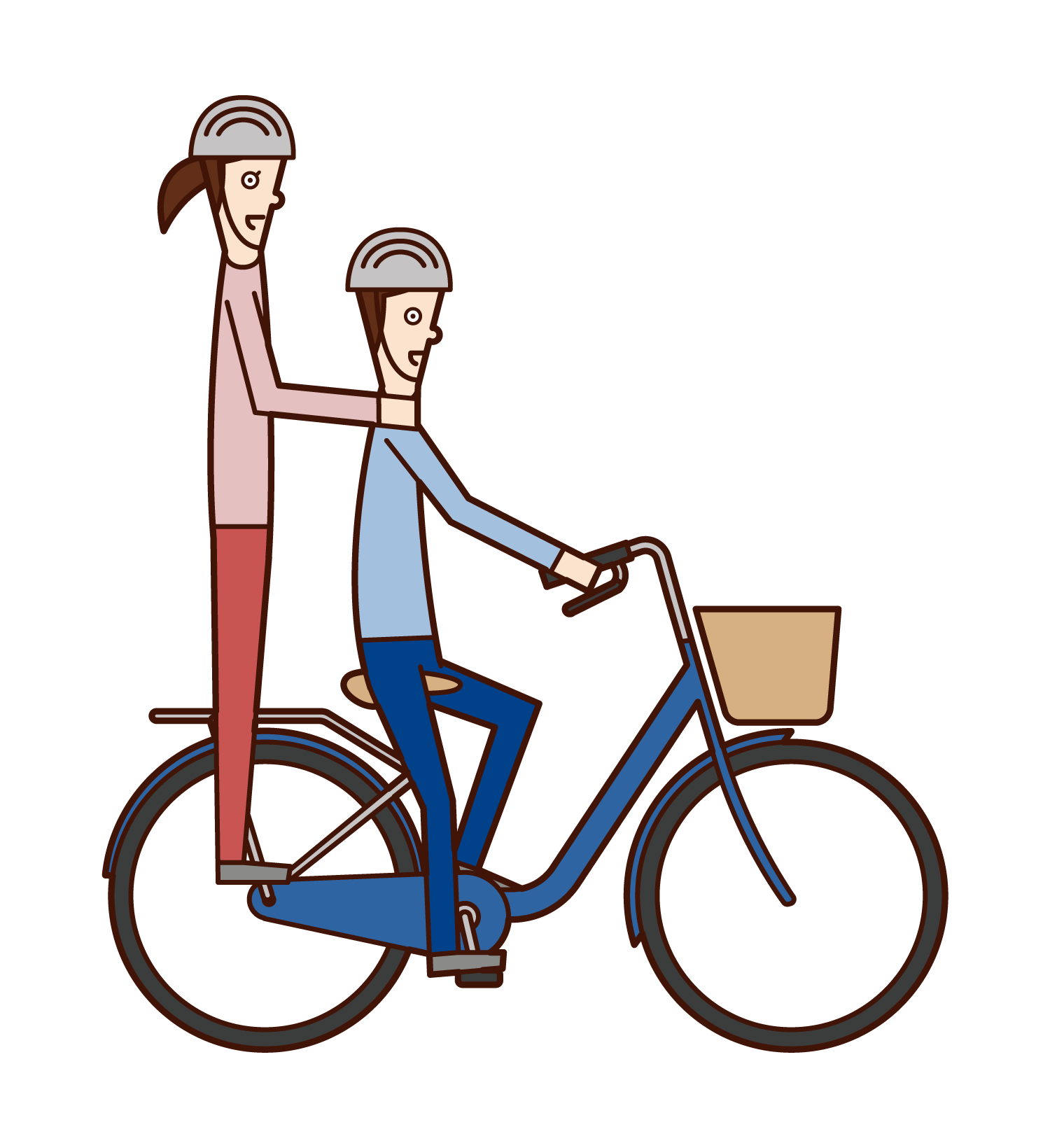 Illustration of two-seater people on a bicycle