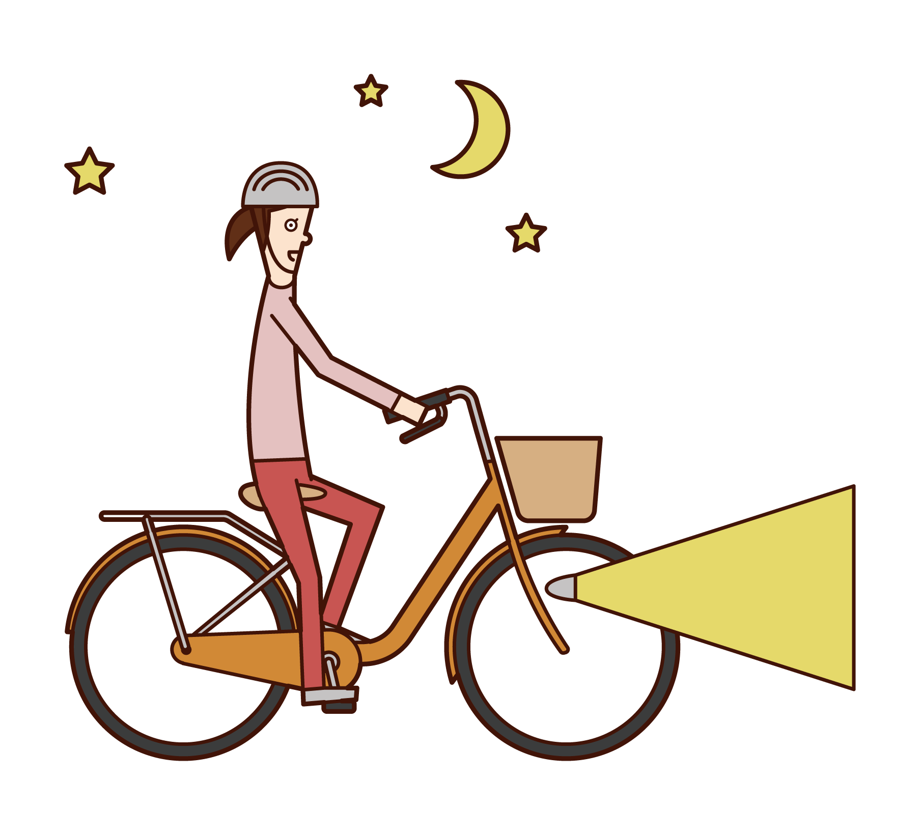 Illustration of a woman riding a bicycle with a light on it