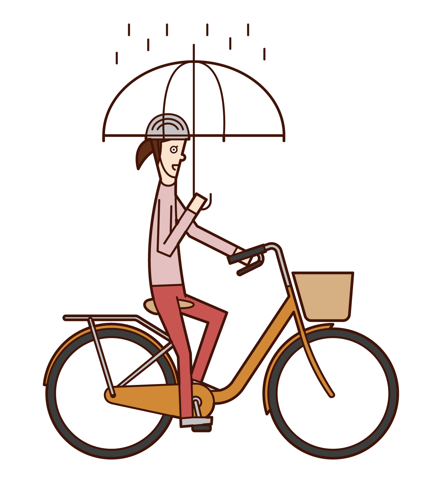 Illustration of a woman riding a bicycle with an umbrella