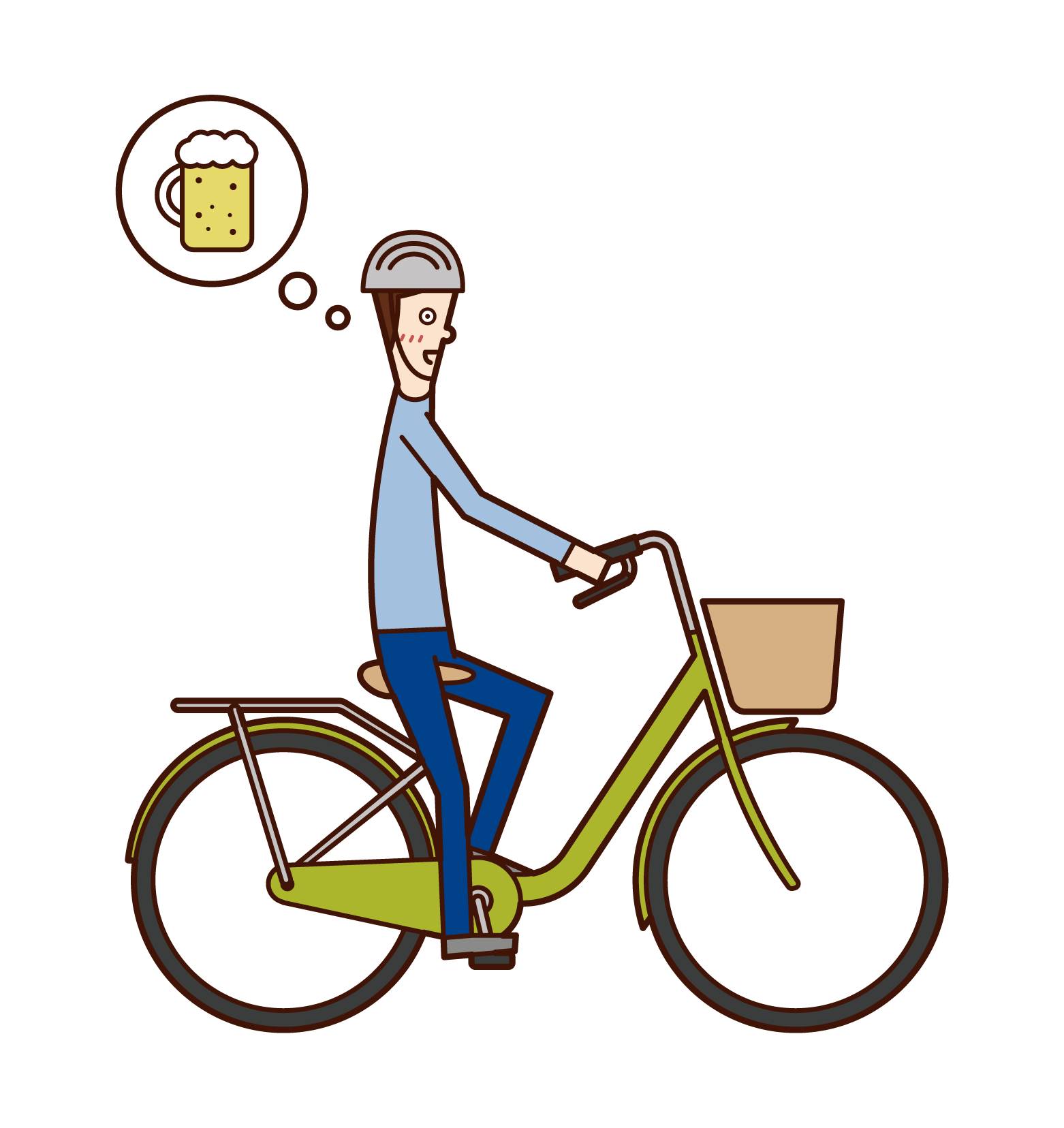 Illustration of a man who drinks and drinks on a bicycle