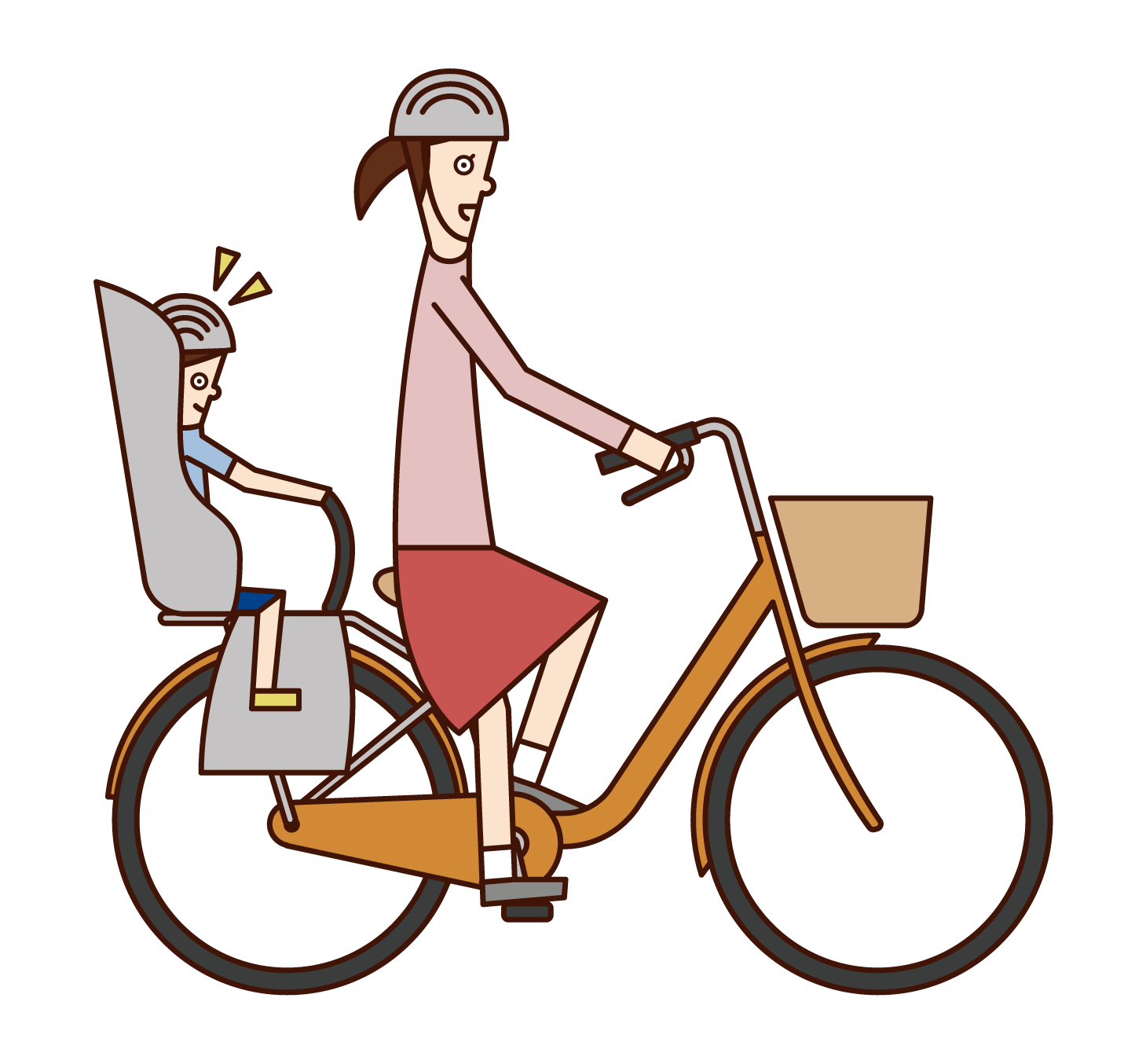 Illustration of a woman riding a bicycle with a child in a child seat