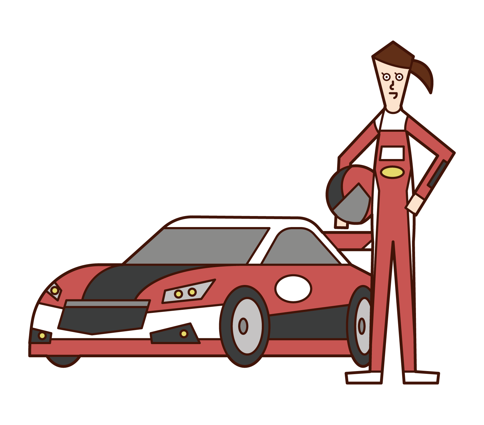 Illustration of Car Racer Motor Racer (woman)