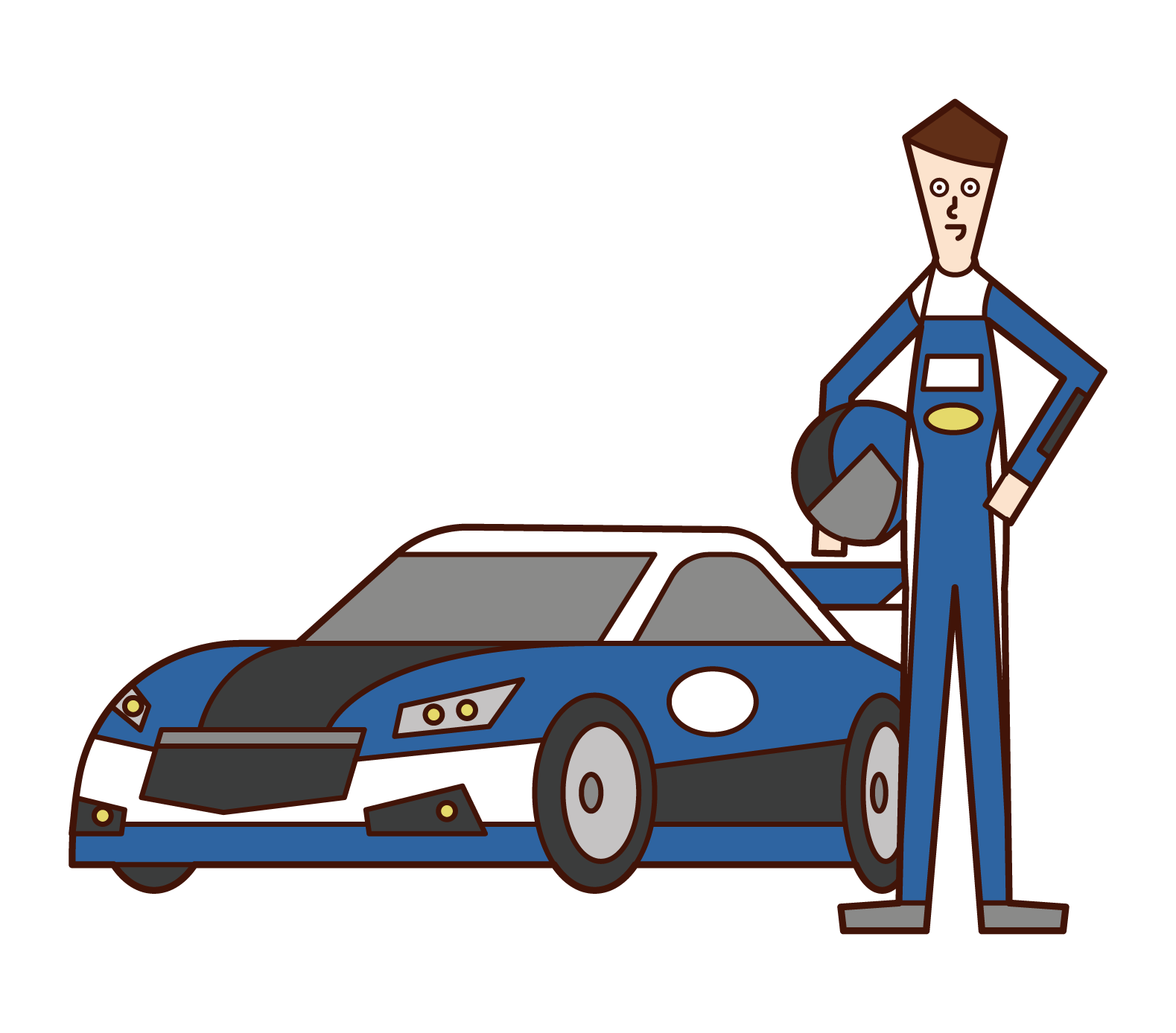 Illustration of Car Racer Motor Racer (man)