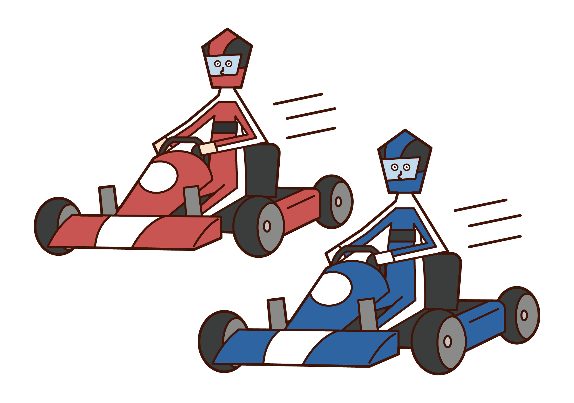 Illustration of a racing cart player racing