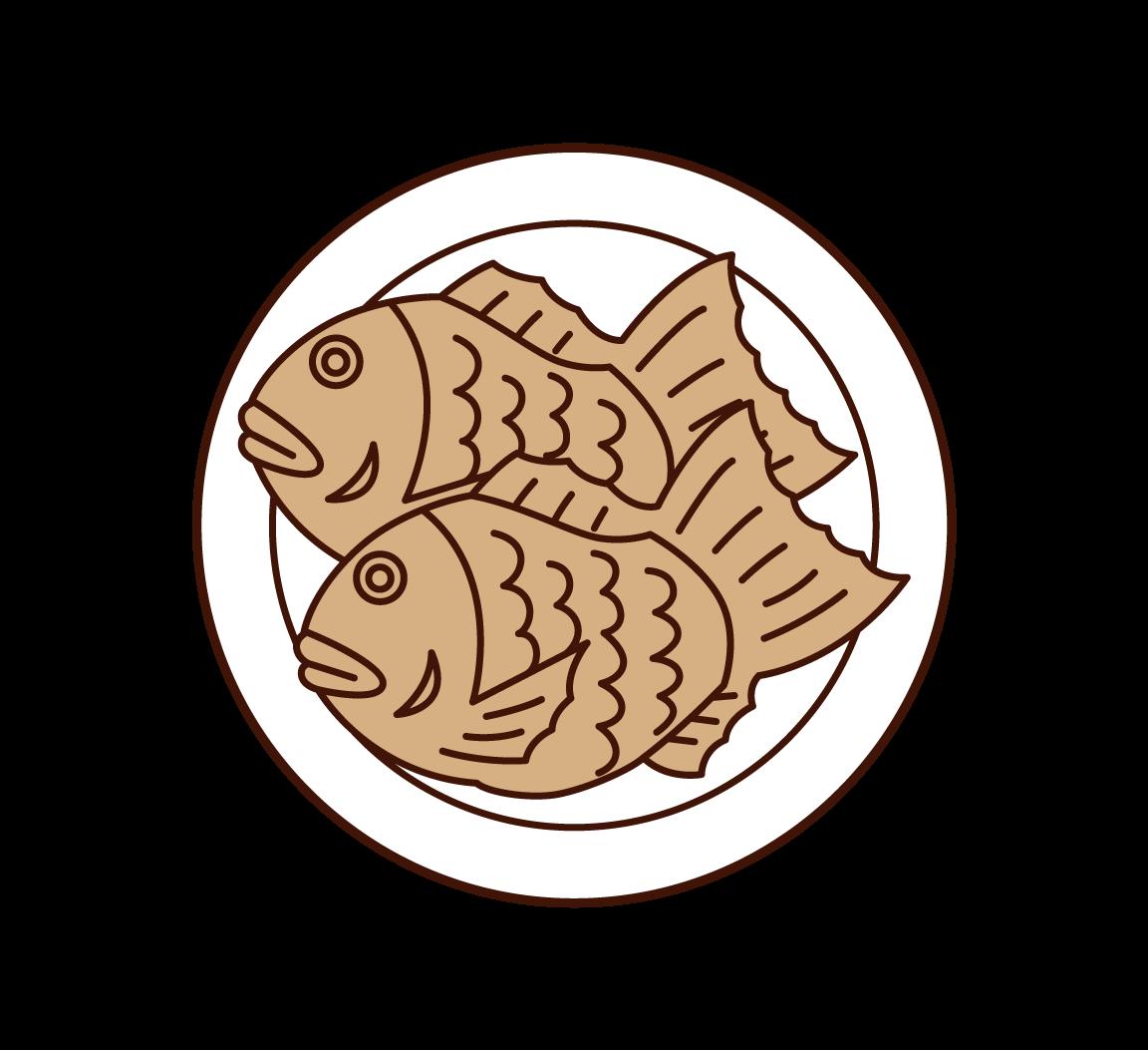 鯛焼きのイラスト
