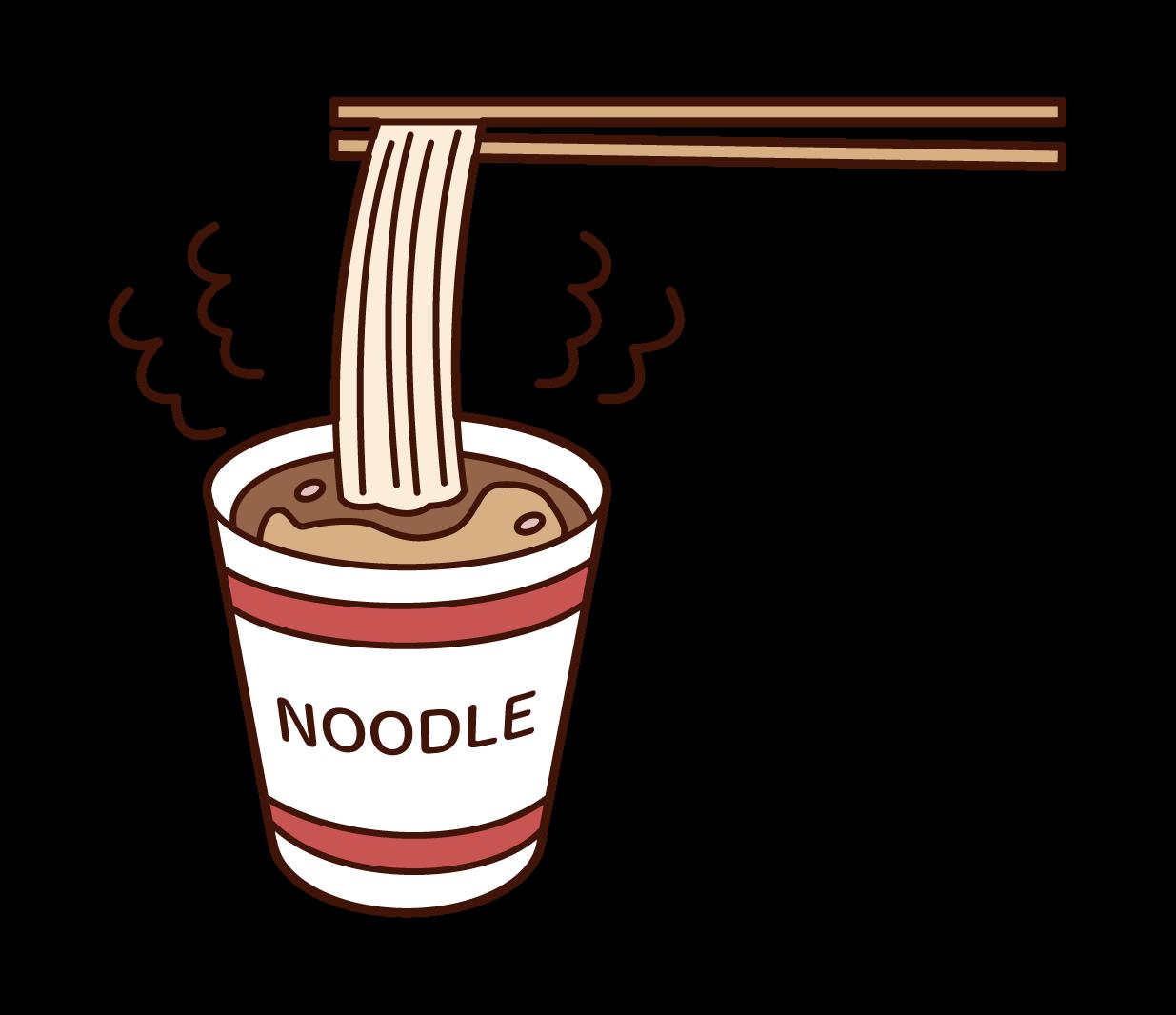 Illustration of cup ramen