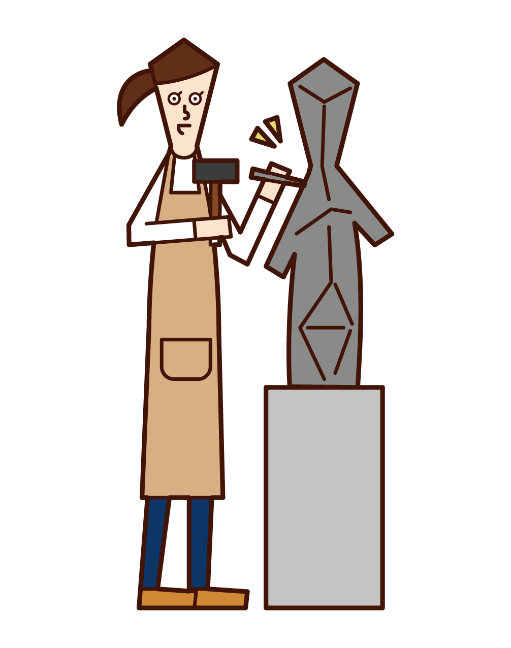 Illustration of sculptor (woman)