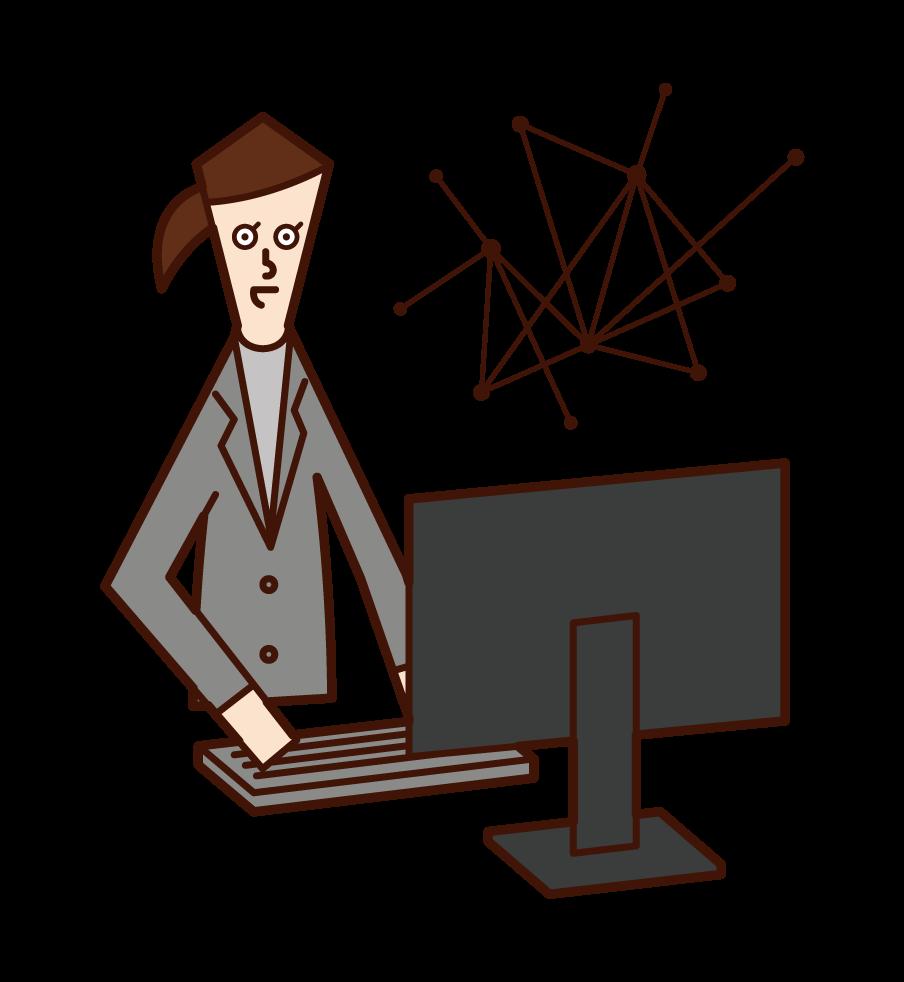ネットワークエンジニア・システムエンジニア(女性)のイラスト