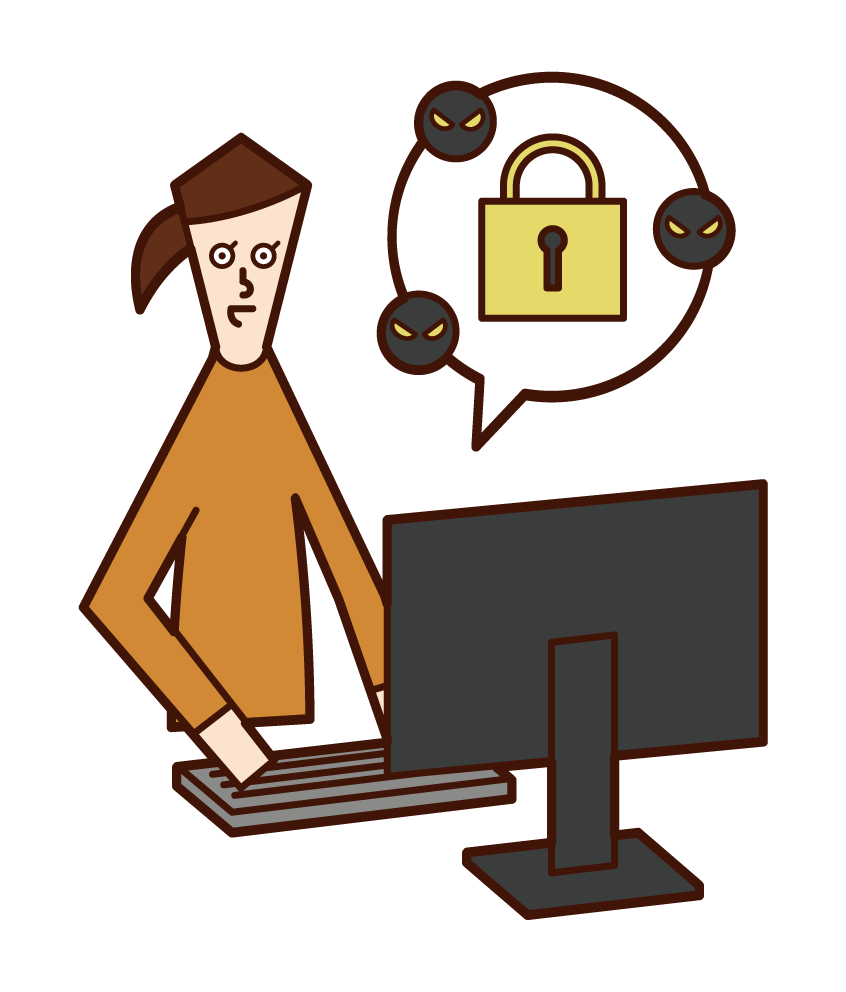 Illustration of a security engineer (woman)