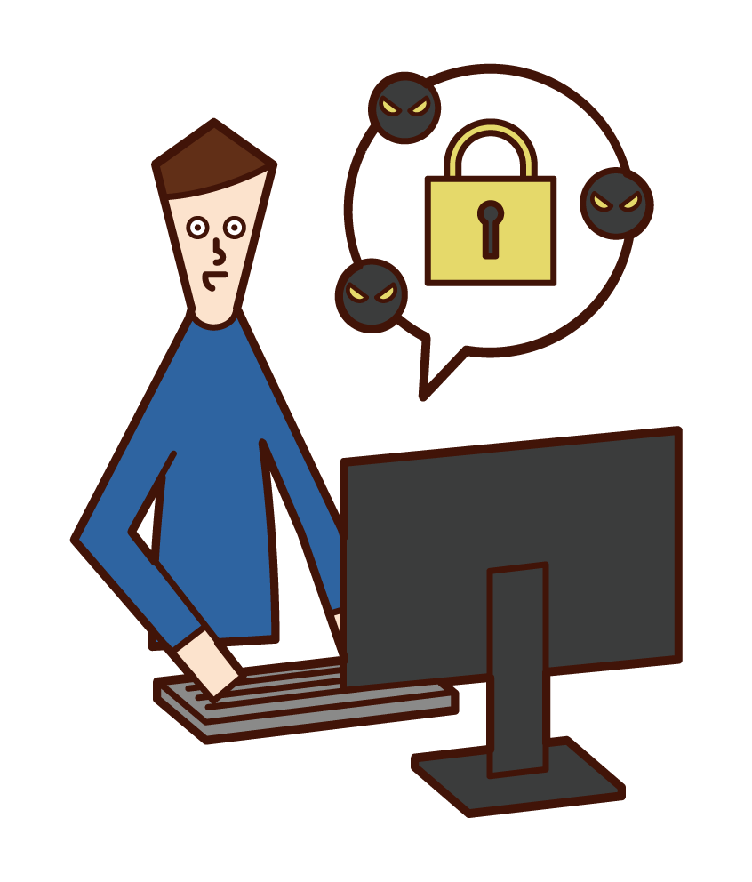 Illustration of a security engineer (man)