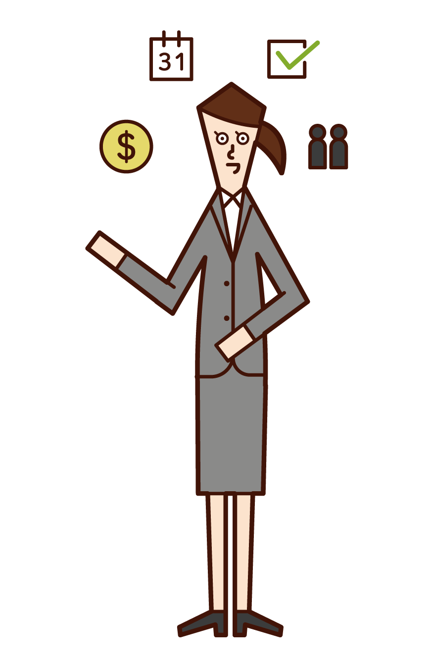 Illustration of project manager (woman)