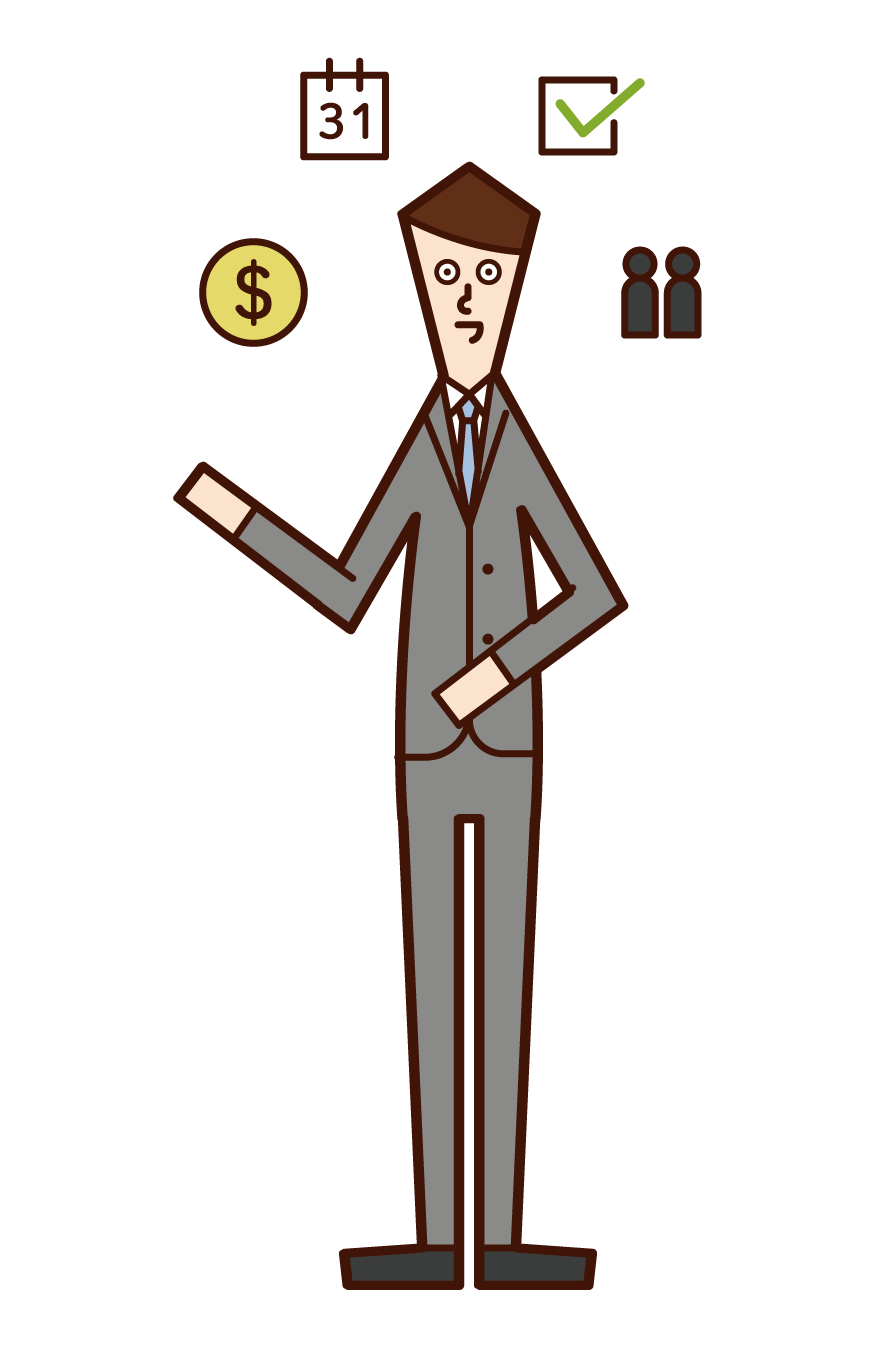 Illustration of a project manager (man)