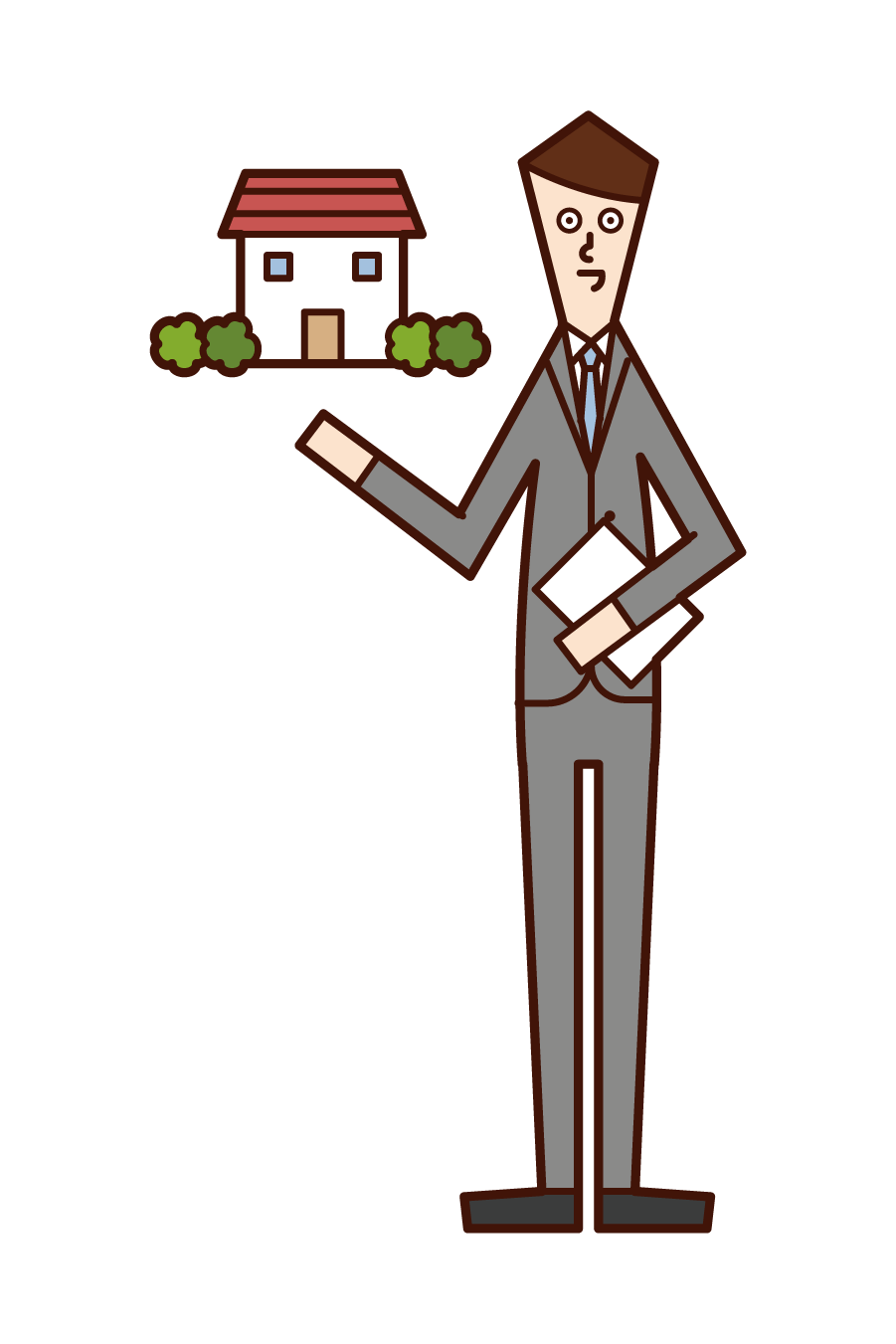 Illustration of real estate consultant, real estate appraiser, and housing building transaction chief (man)
