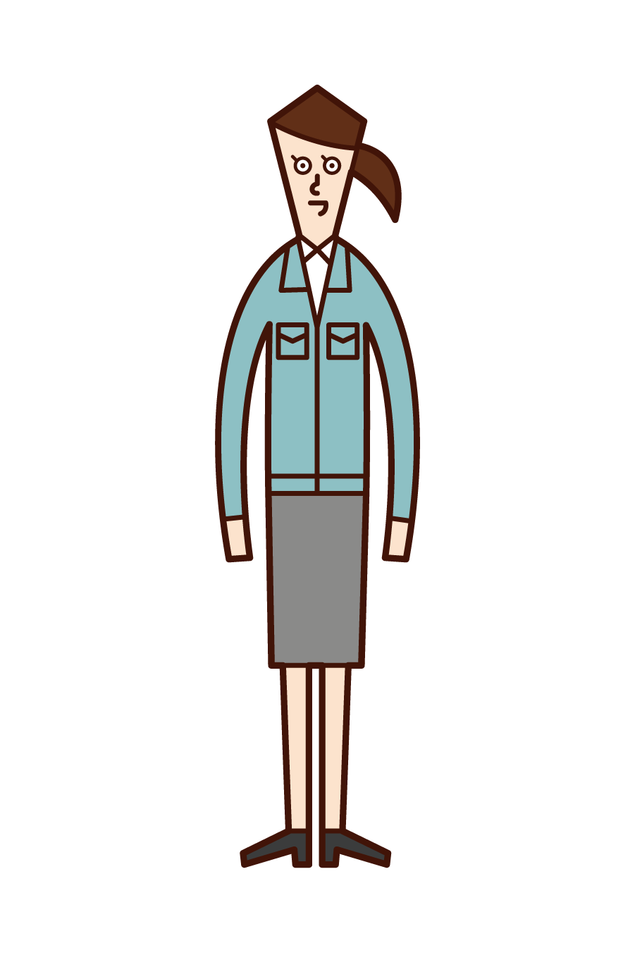 Illustration of a person wearing a work clothes and a civil servant (woman)
